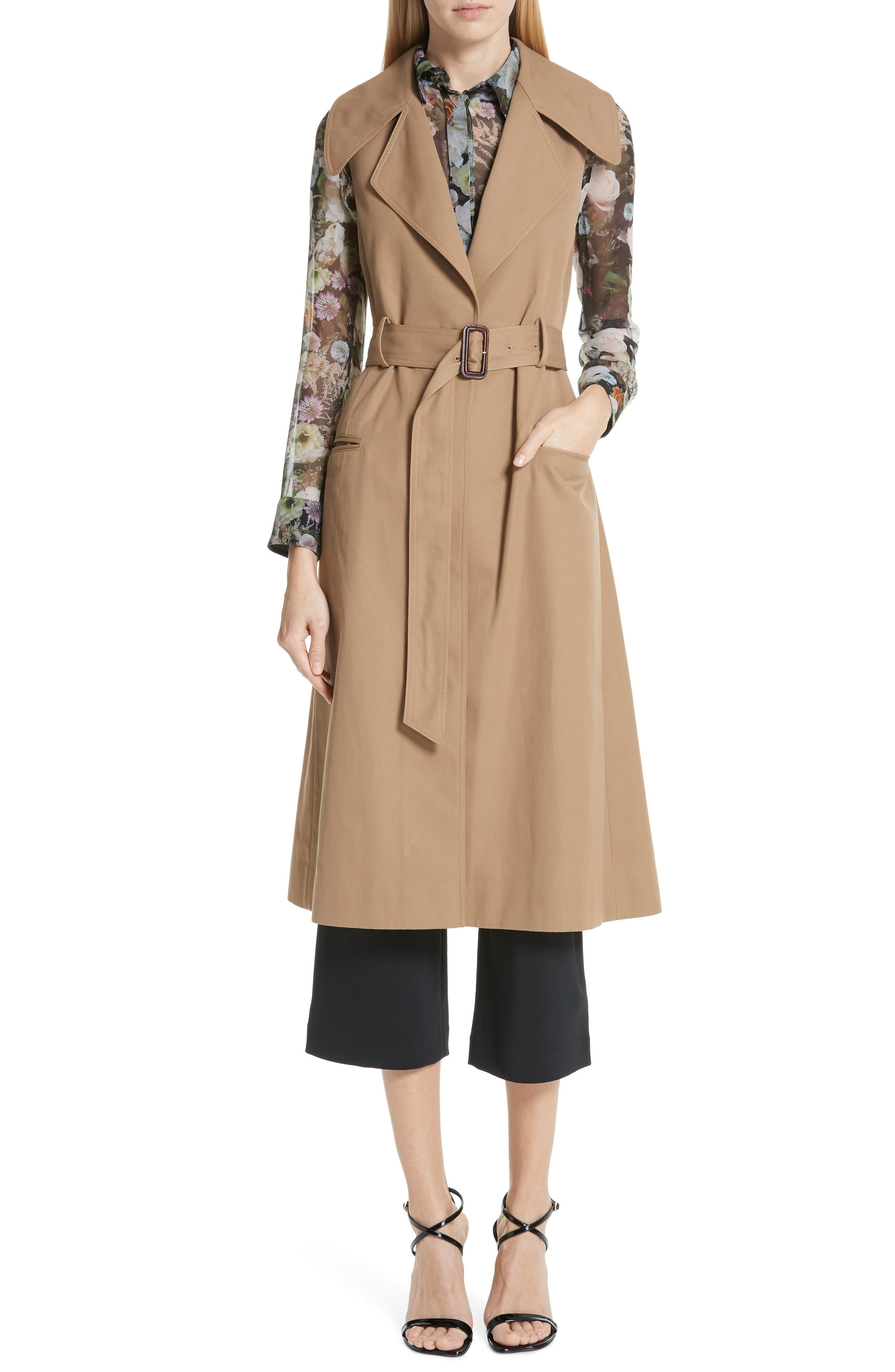 Trench Coat with Vest & Removable Fringe,                             Alternate thumbnail 2, color,                             KHAKI/ TAN