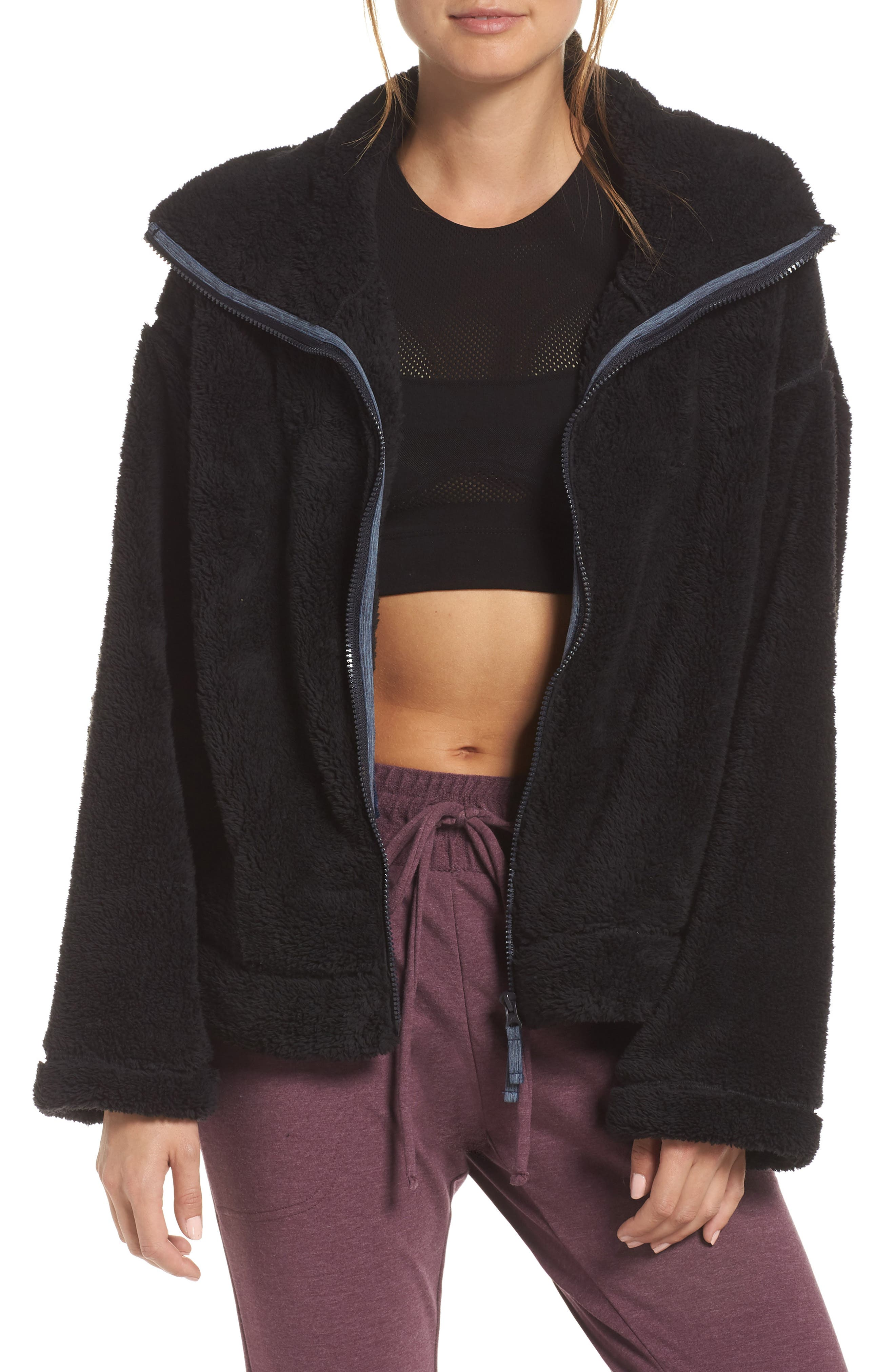 Dazed Fleece Jacket,                             Main thumbnail 1, color,                             BLACK