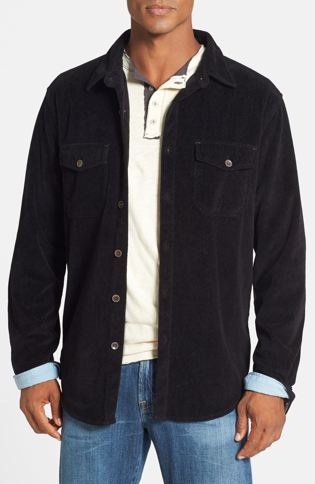 'Best' Stretch Corduroy Shirt Jacket, Main, color, 001