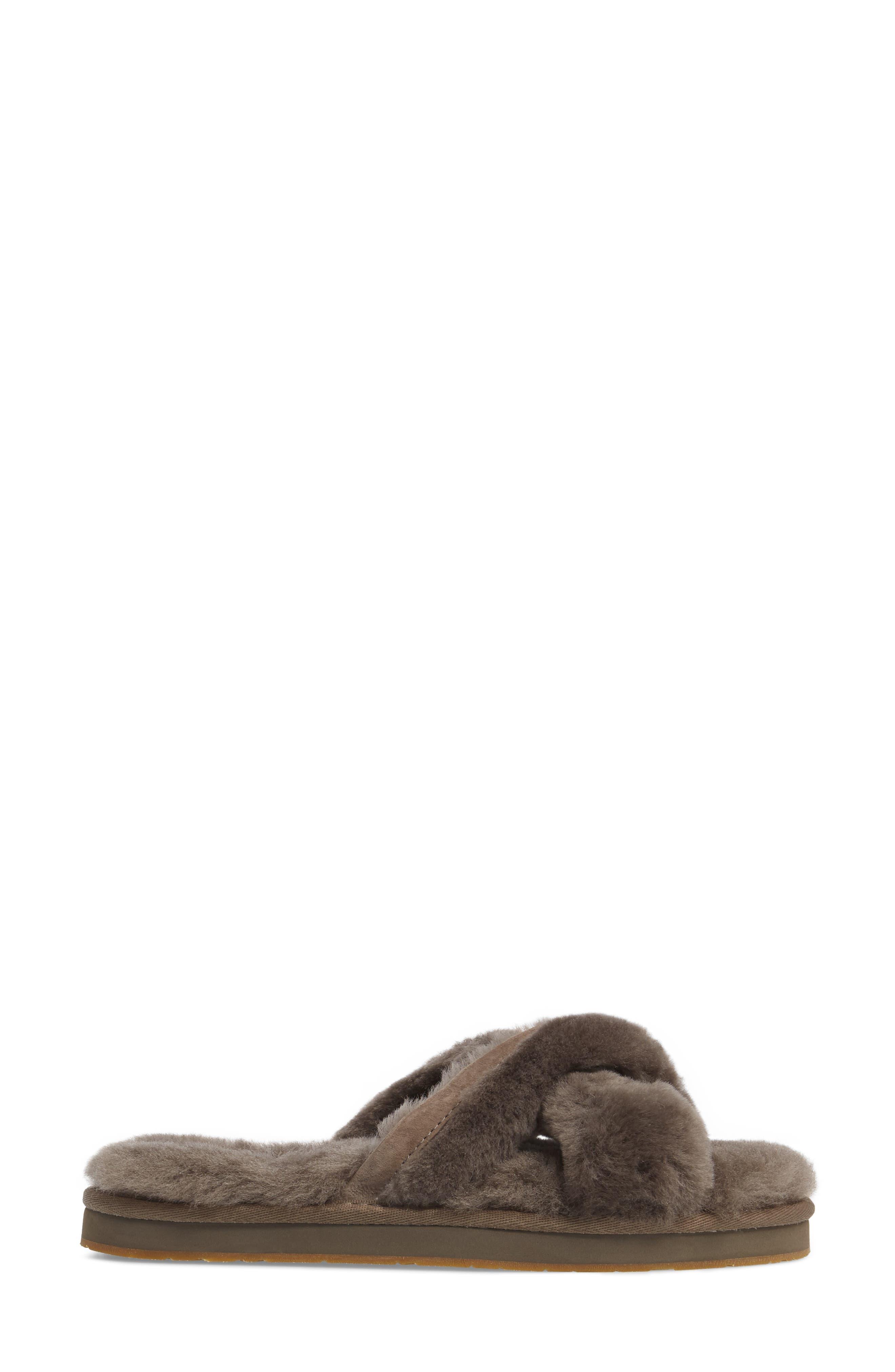 Abela Genuine Shearling Flip Flop,                             Alternate thumbnail 3, color,                             SLATE WOOL