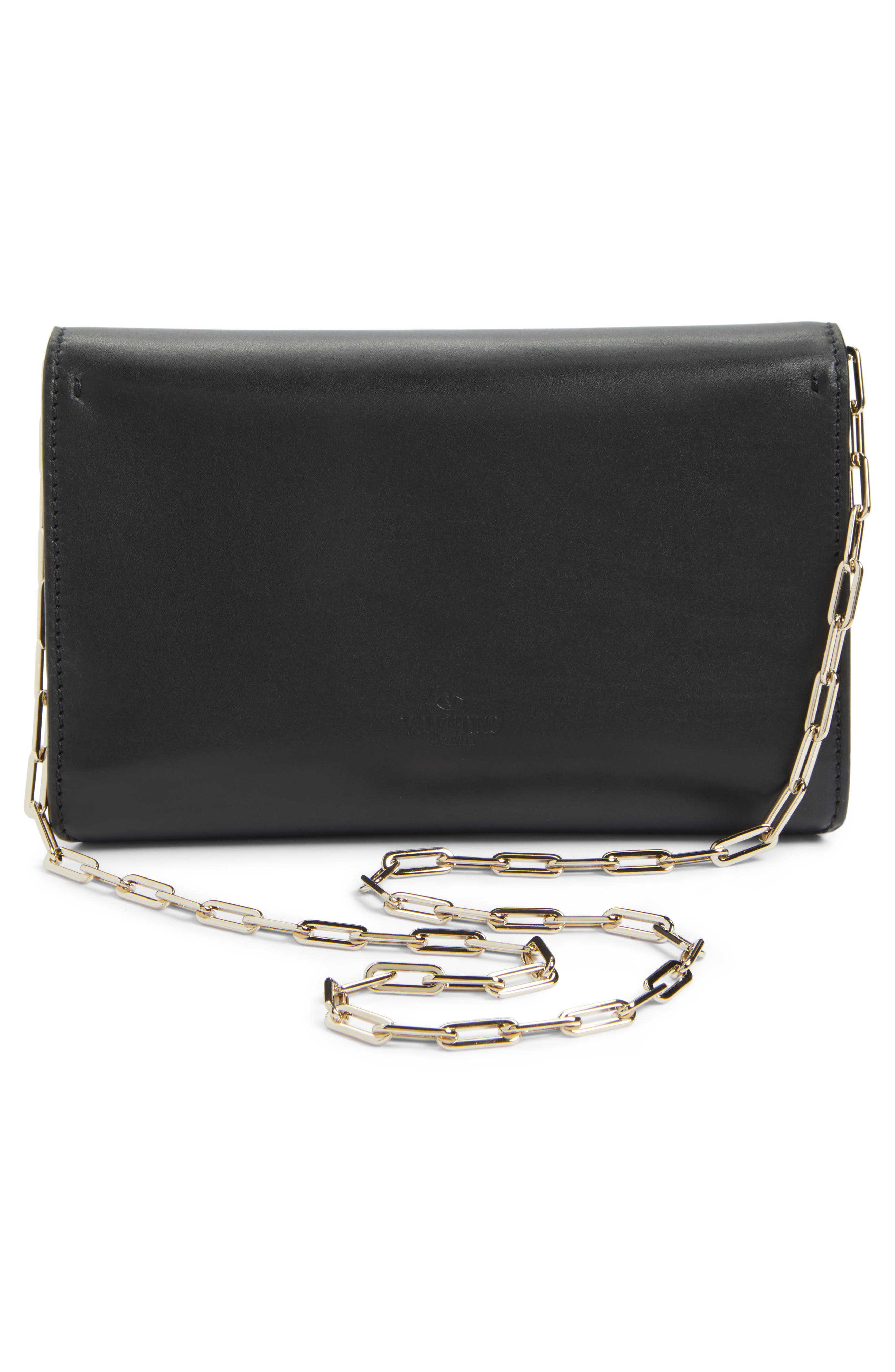 V-Clasp Calfskin Leather Envelope Clutch,                             Alternate thumbnail 3, color,