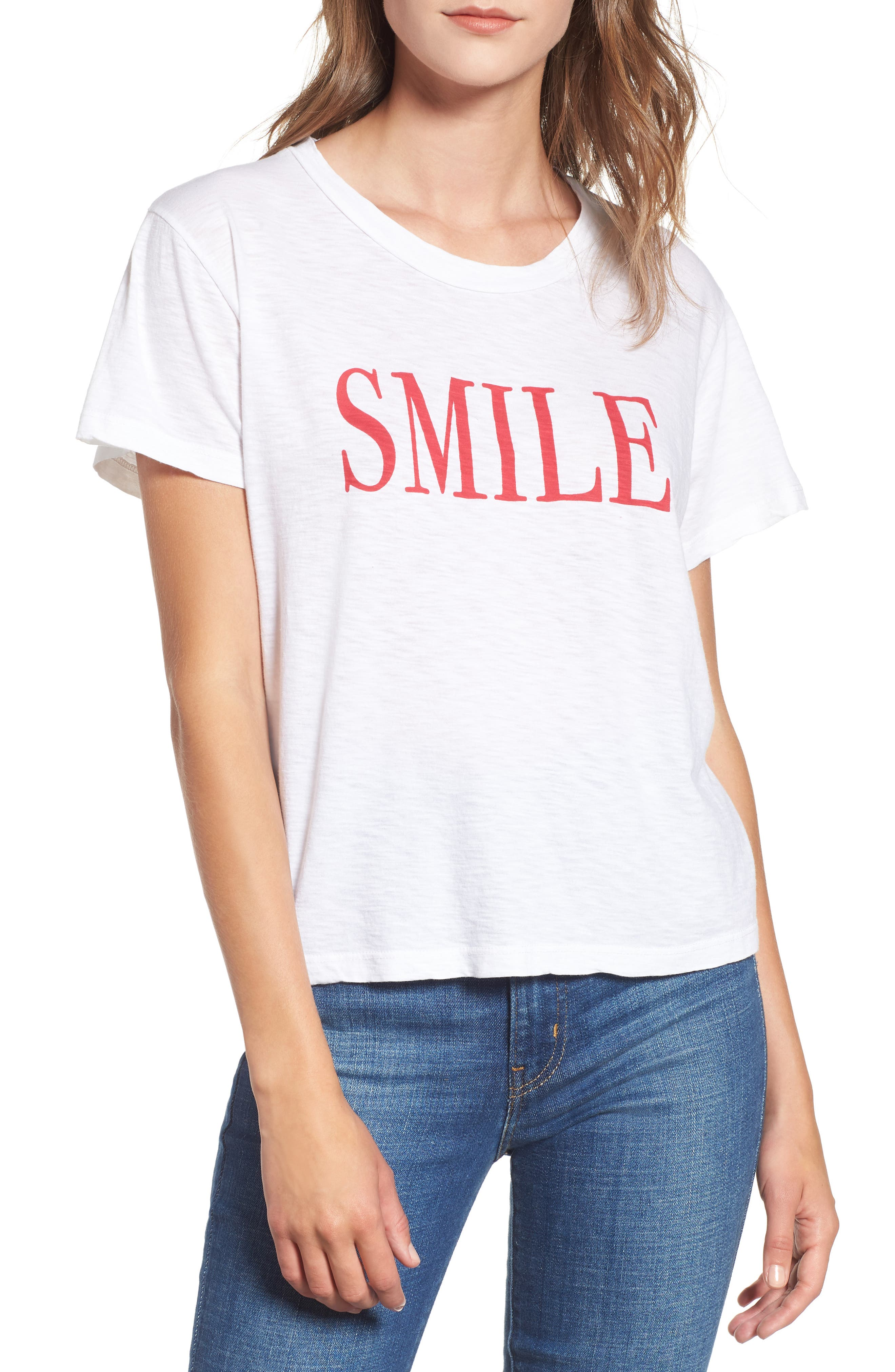 SUNDRY,                             Smile Boxy Cotton Tee,                             Main thumbnail 1, color,                             100