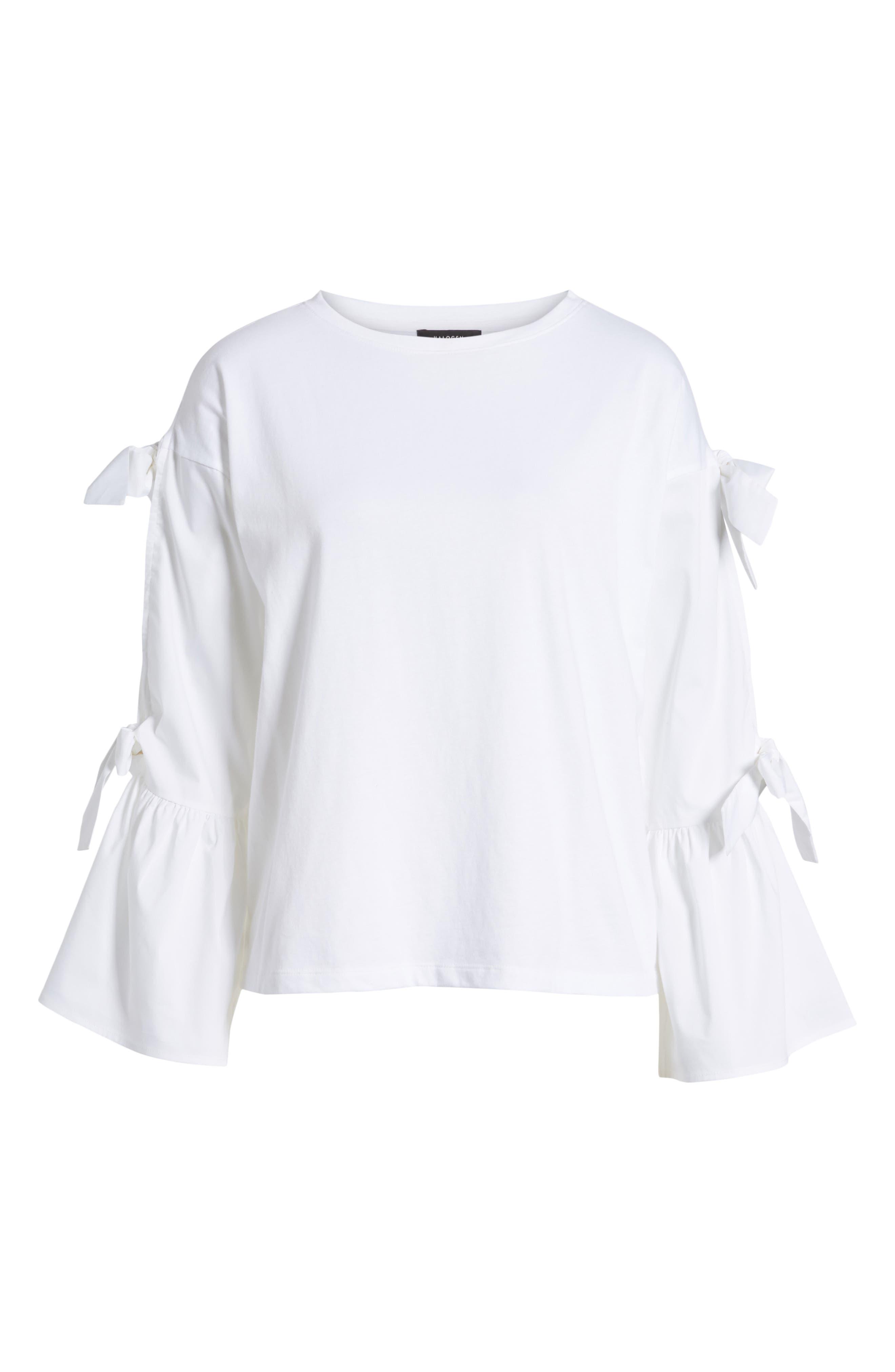 Bow Sleeve Poplin Cotton Top,                             Alternate thumbnail 6, color,                             100