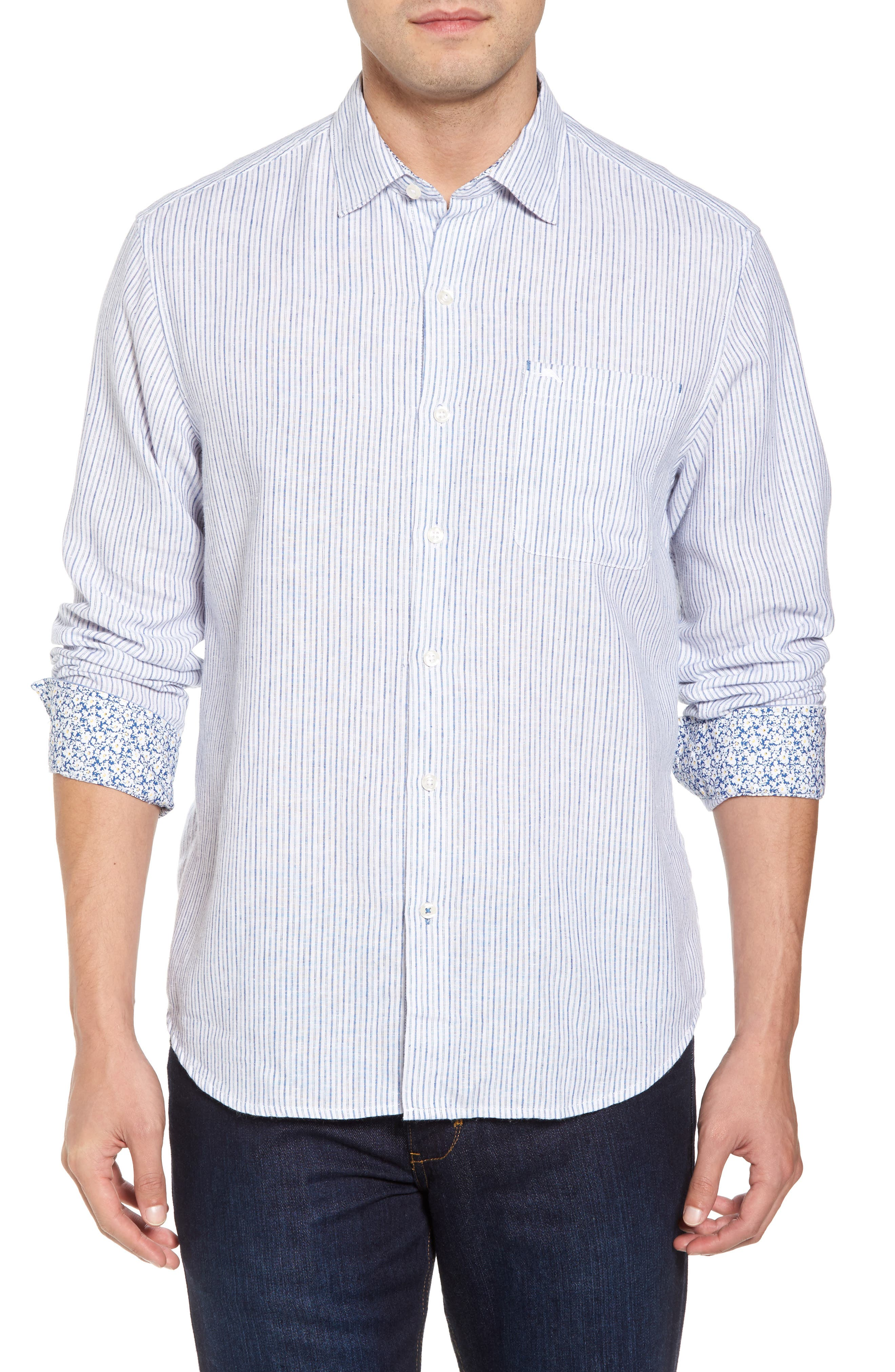 Bungalow Stripe Regular Fit Linen Blend Sport Shirt,                             Main thumbnail 2, color,