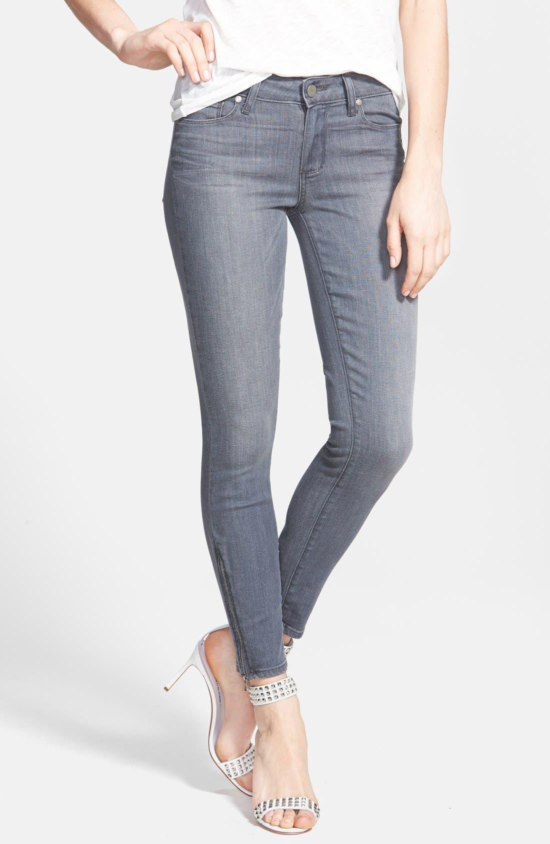 Denim 'Verdugo' Zip Cuff Skinny Ankle Jeans,                             Main thumbnail 1, color,                             020