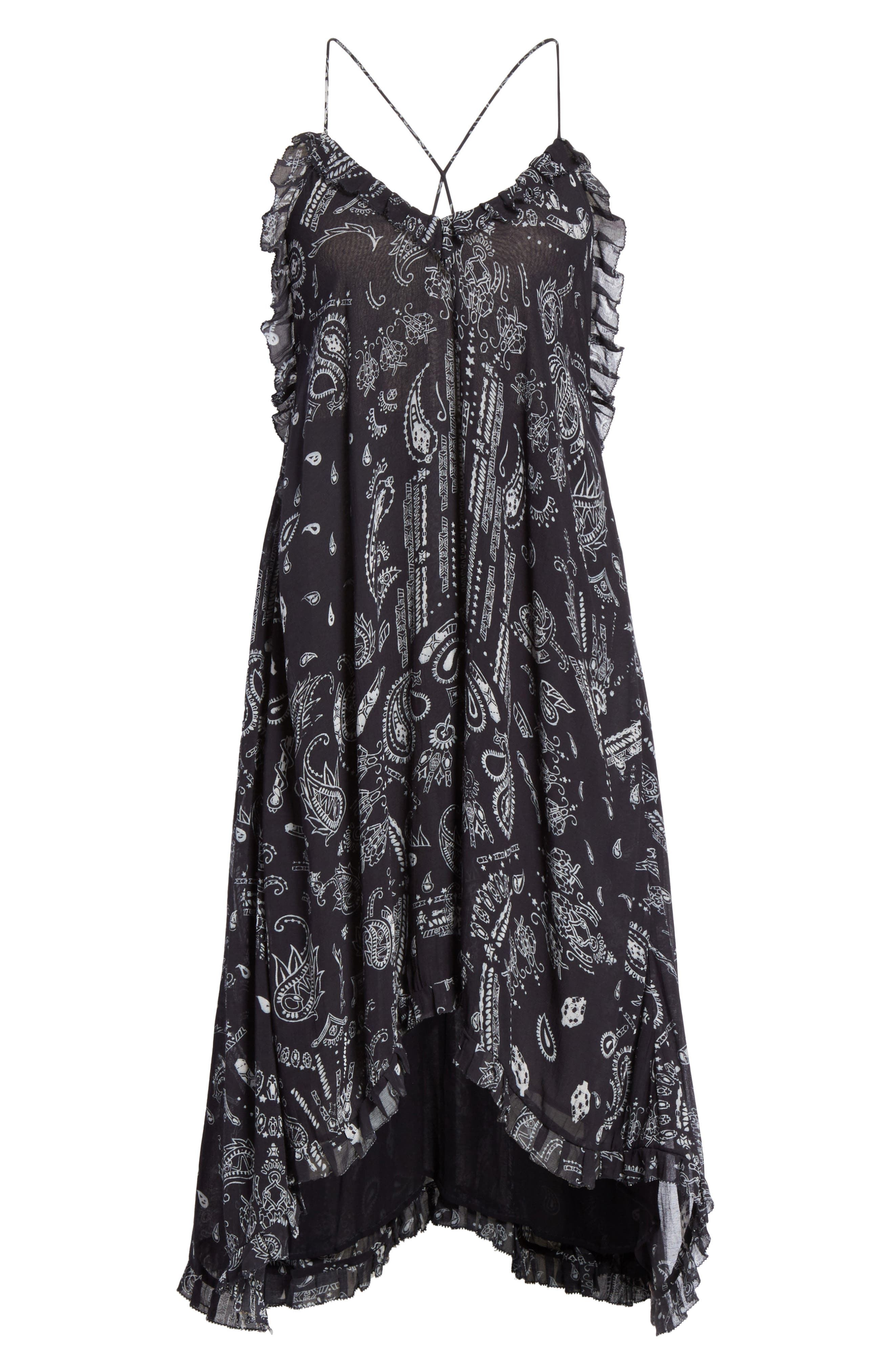 Bagda Bandana Print Ruffle Trim Dress,                             Alternate thumbnail 6, color,