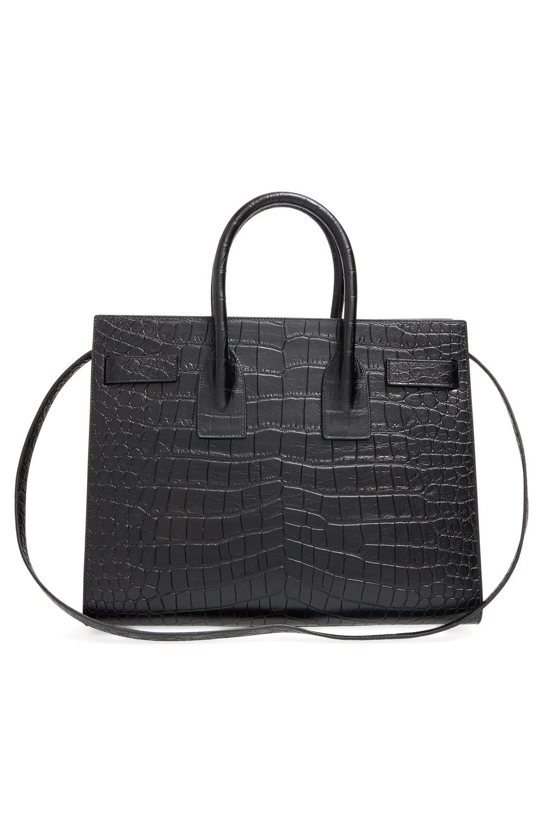'Small Sac de Jour' Croc Embossed Leather Tote,                             Alternate thumbnail 2, color,                             NOIR