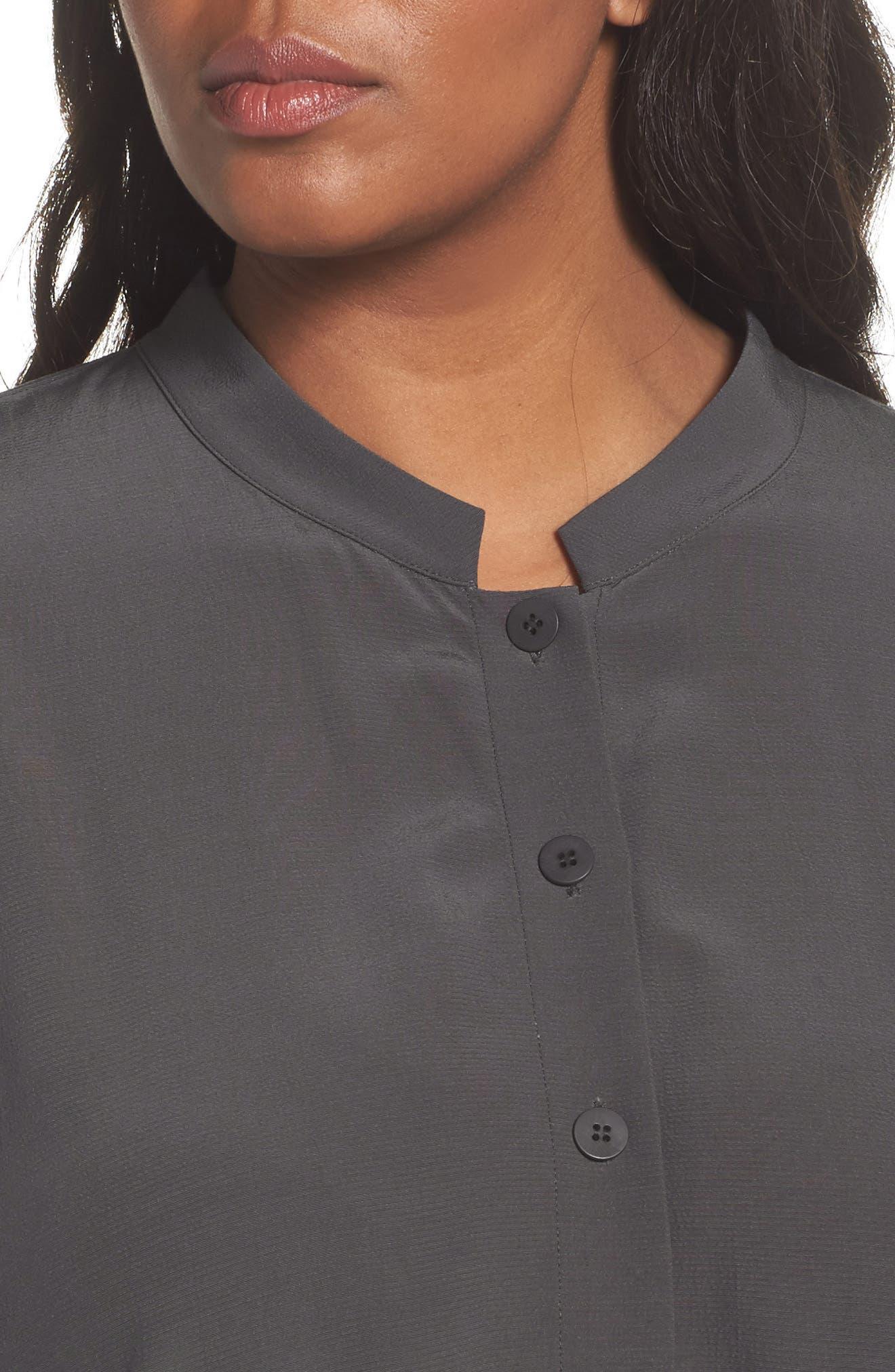 Mandarin Collar Boxy Top,                             Alternate thumbnail 4, color,                             020