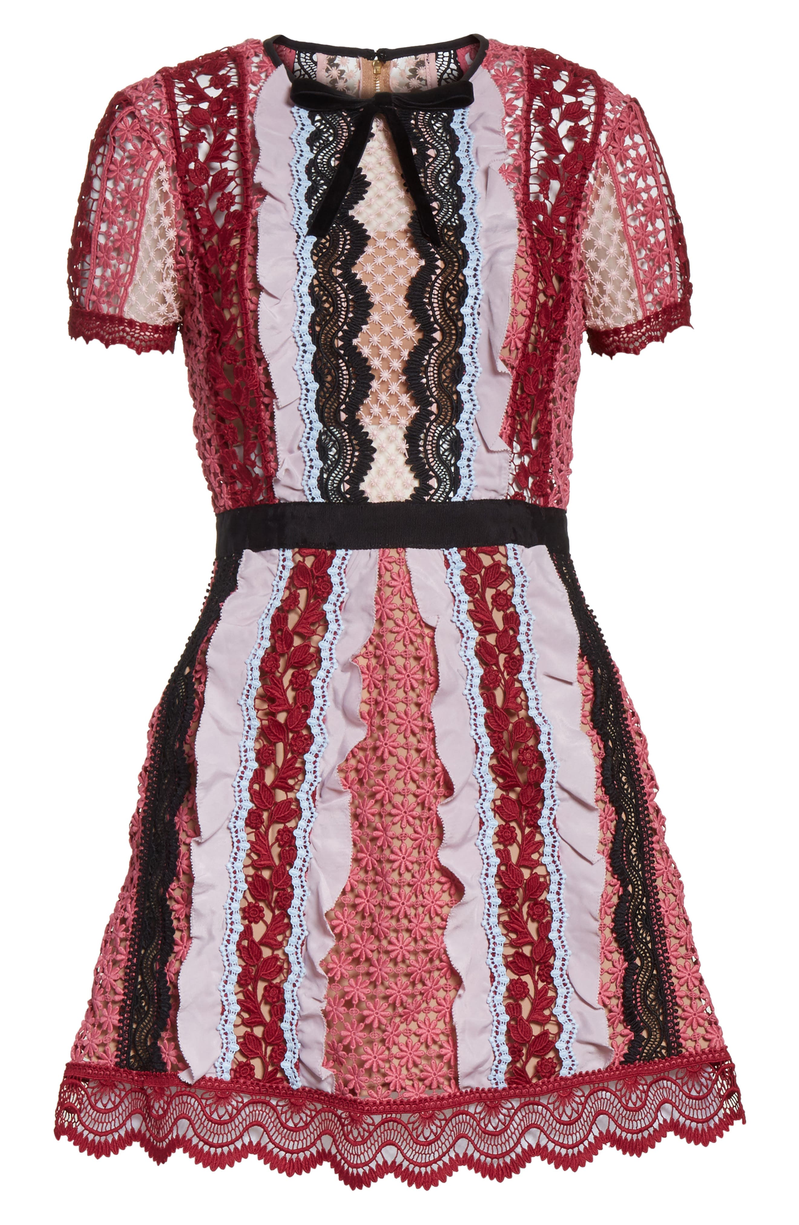 Paneled Bellis Lace Minidress,                             Alternate thumbnail 6, color,                             650