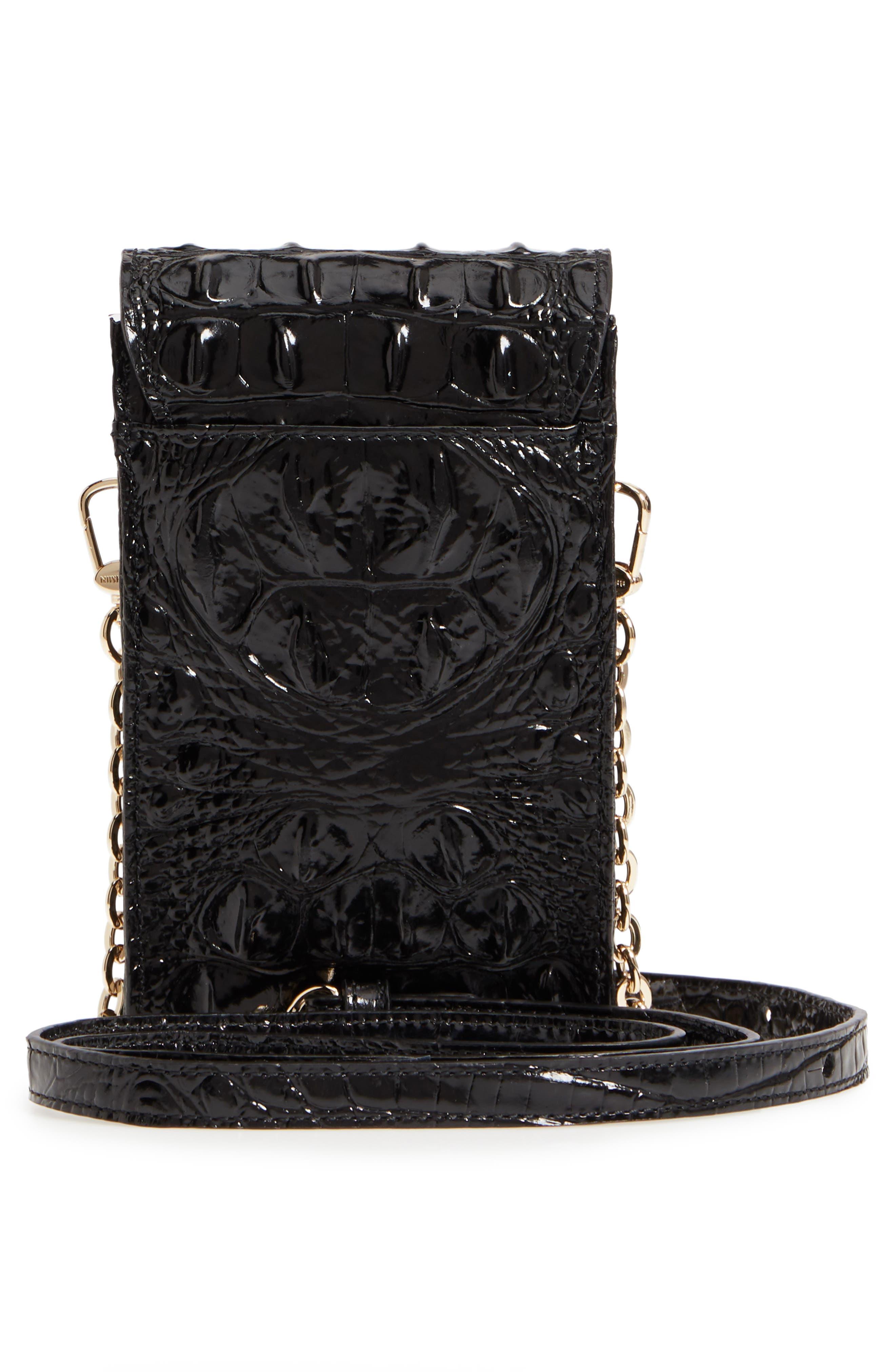 Madison Leather Smartphone Crossbody Bag,                             Alternate thumbnail 3, color,                             BLACK