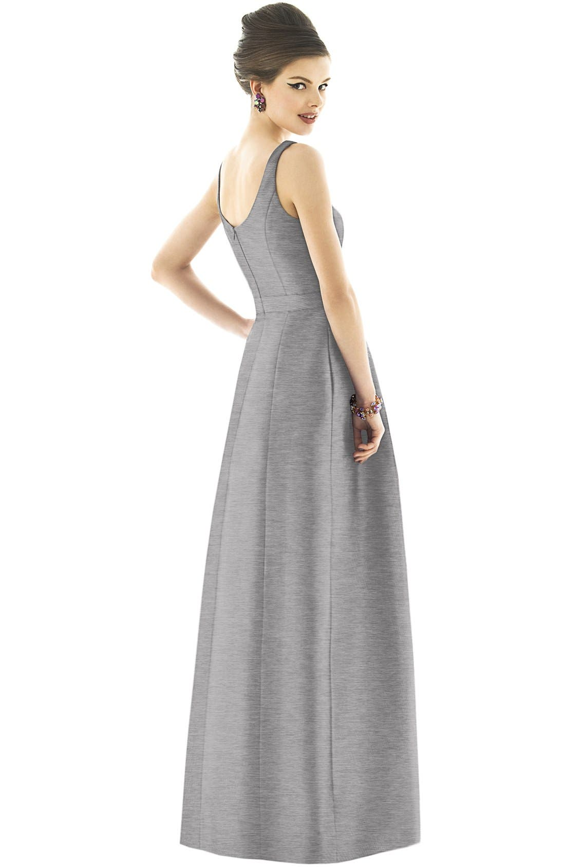 Scoop Neck Dupioni Full Length Dress,                             Alternate thumbnail 7, color,