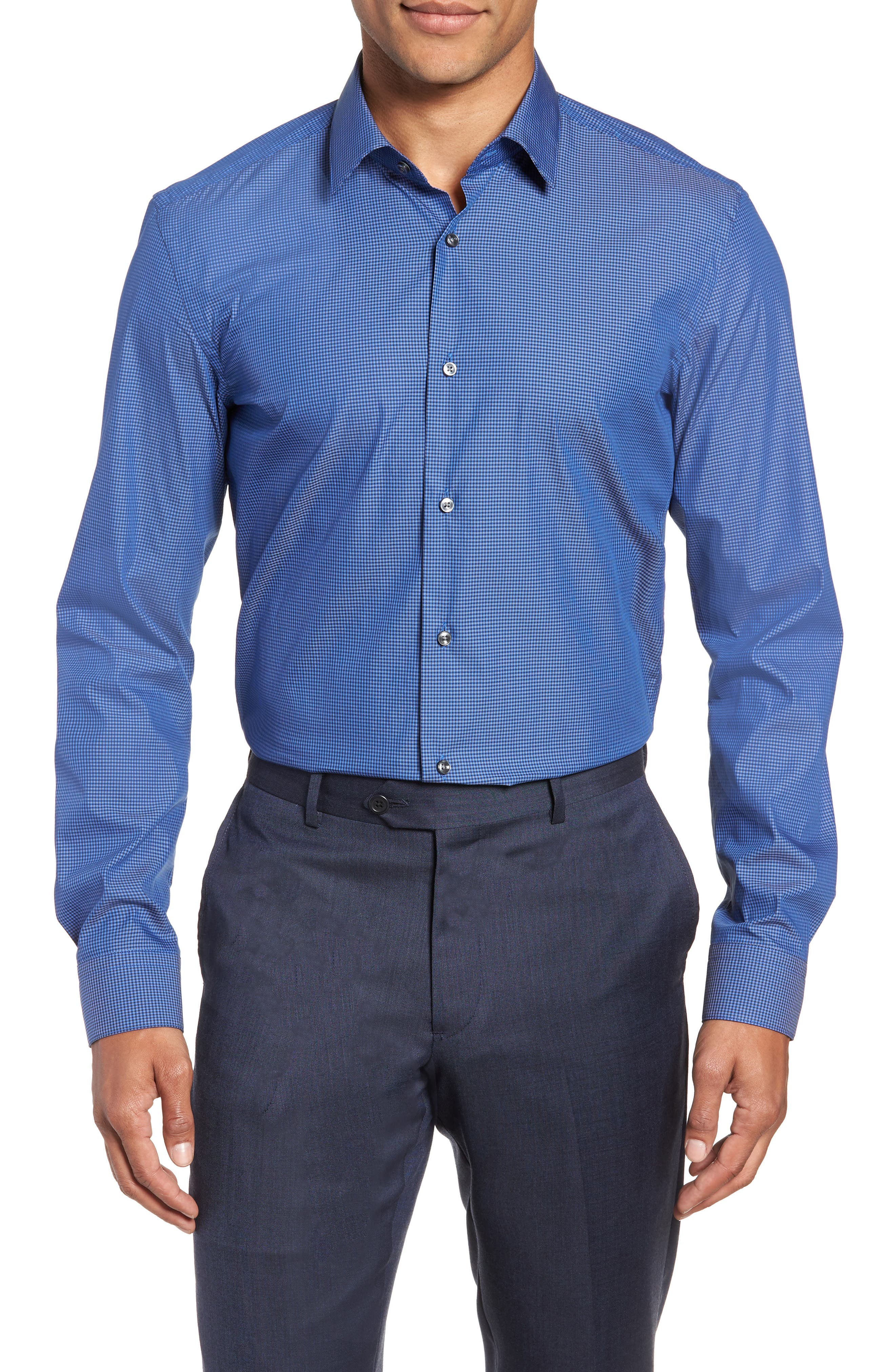 Isko Slim Fit Stretch Check Dress Shirt,                         Main,                         color, BLUE