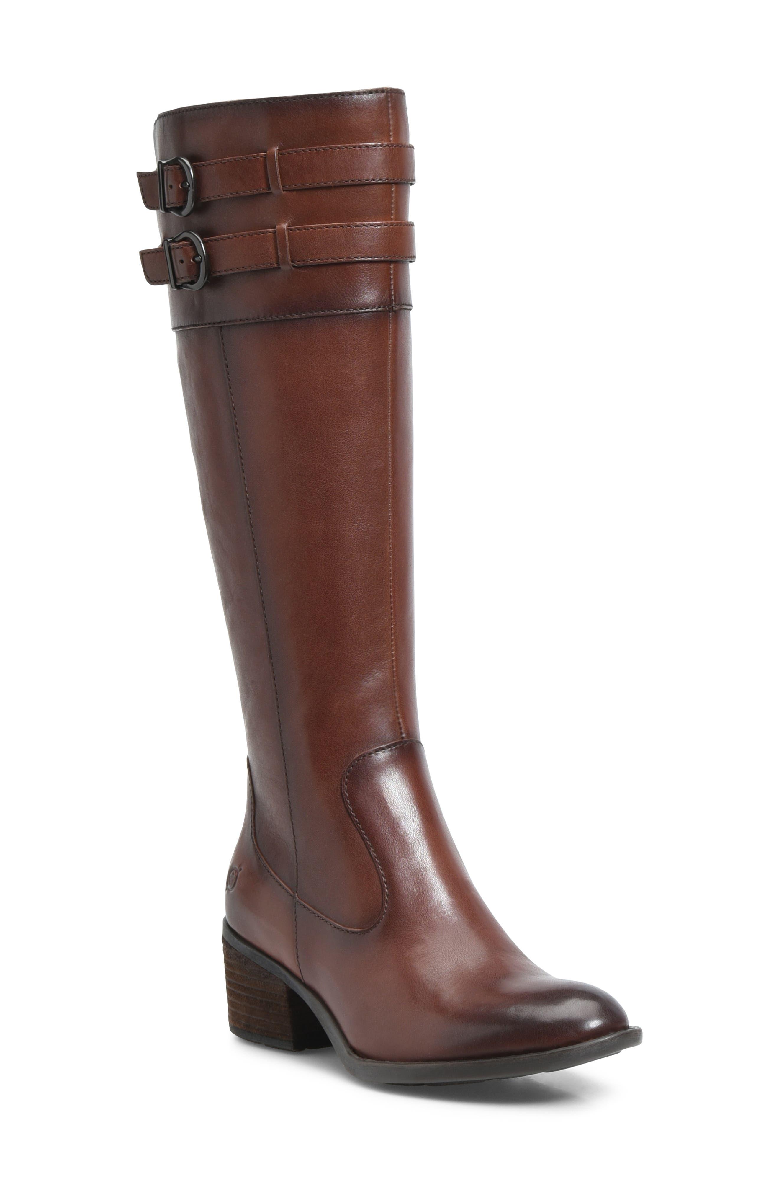 B?rn Tay Block Heel Knee High Boot- Brown