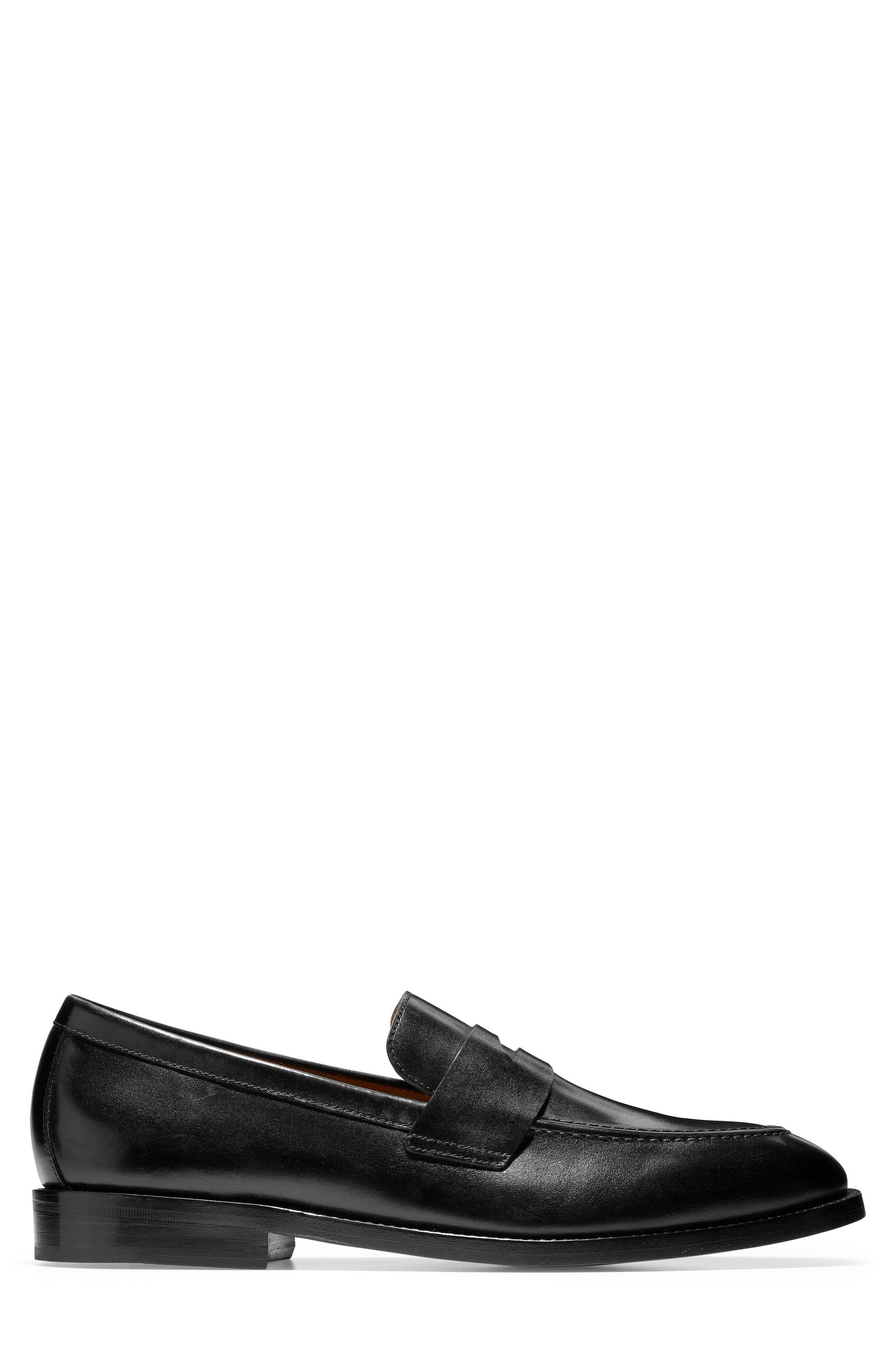 American Classics Kneeland Penny Loafer,                             Alternate thumbnail 3, color,                             BLACK LEATHER