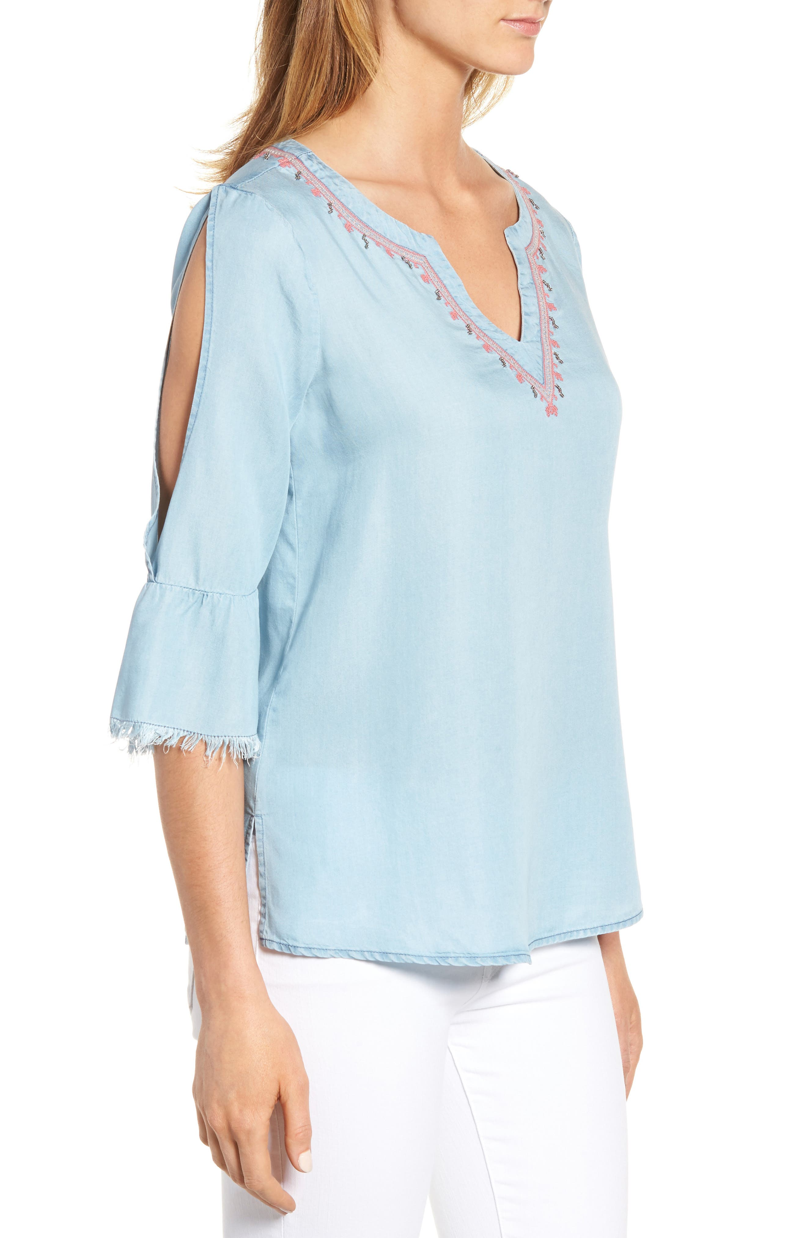Embellished Bell Sleeve Chambray Top,                             Alternate thumbnail 3, color,                             400
