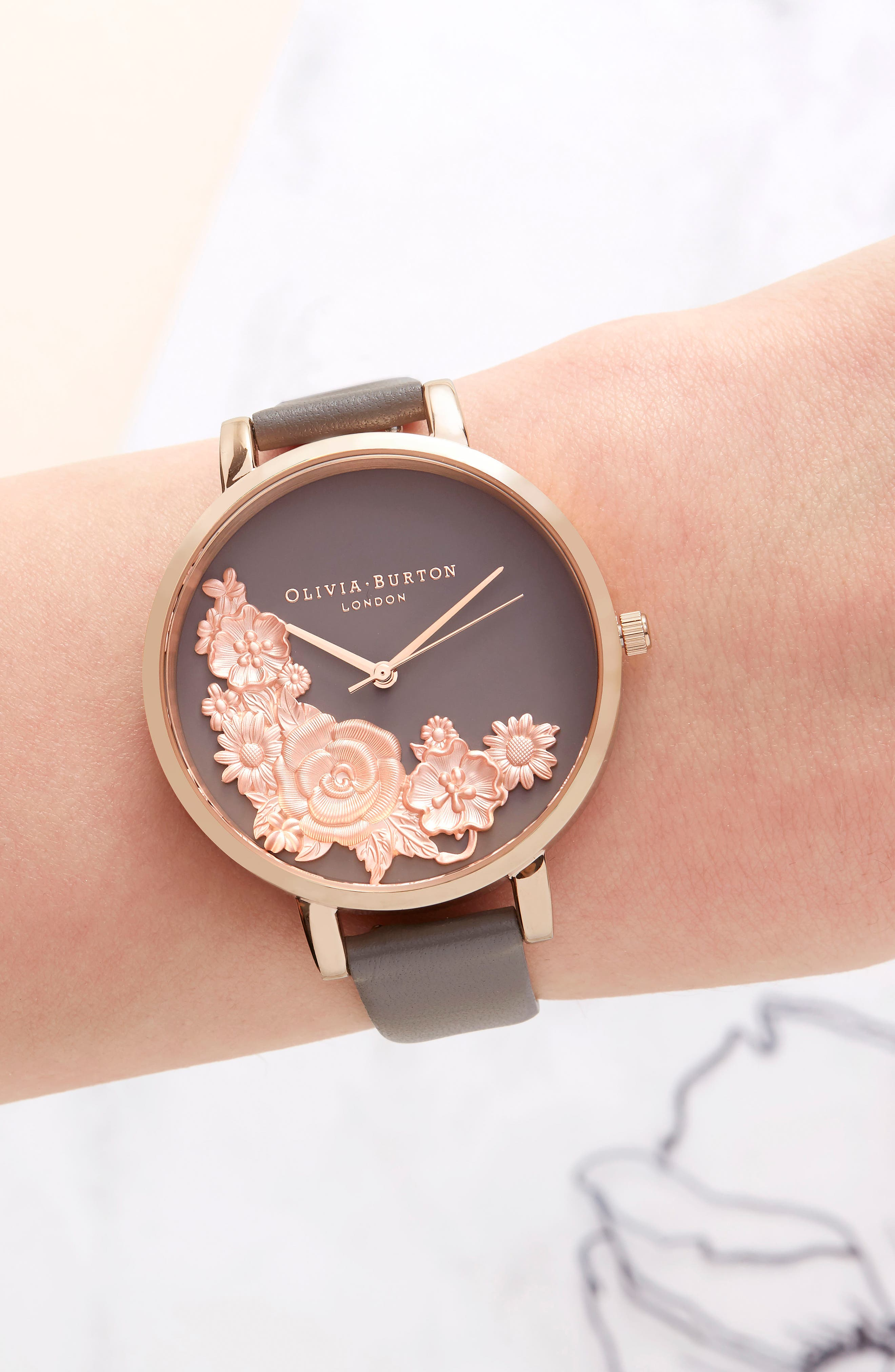Floral Bouquet Leather Strap Watch, 38mm,                             Alternate thumbnail 6, color,                             LONDON GREY/ GREY/ ROSE GOLD