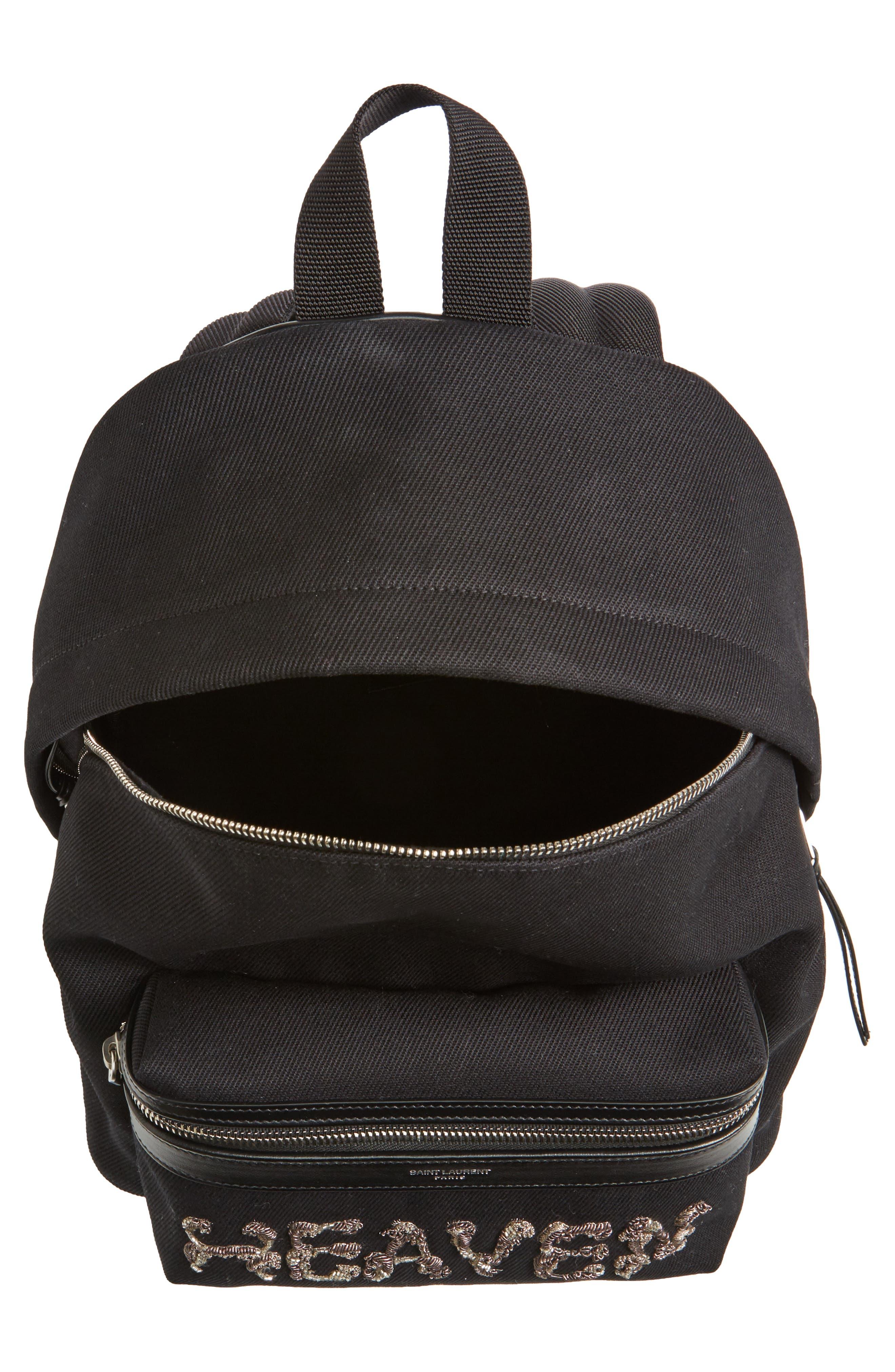 Mini City Logo Canvas Backpack,                             Alternate thumbnail 4, color,                             NOIR