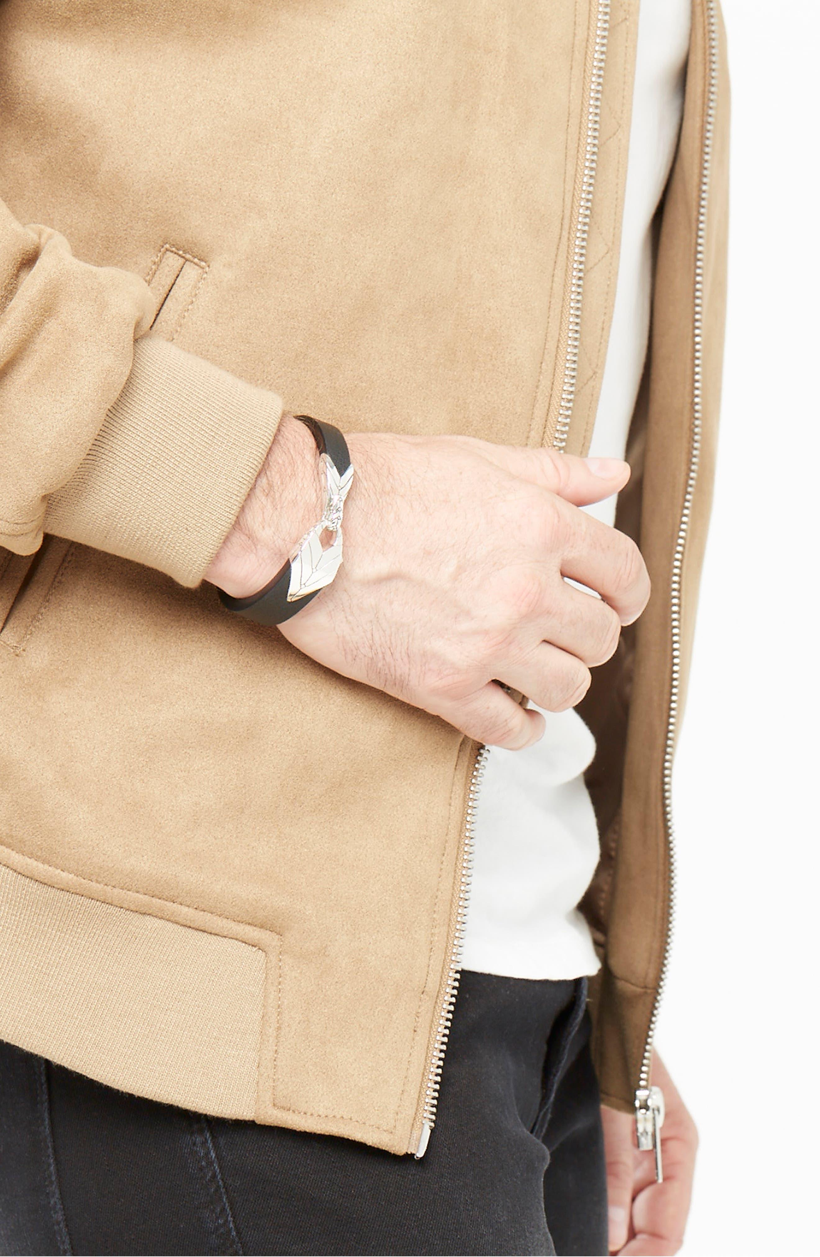 Modern Chain Leather Bracelet,                             Alternate thumbnail 2, color,                             BLACK/ SILVER