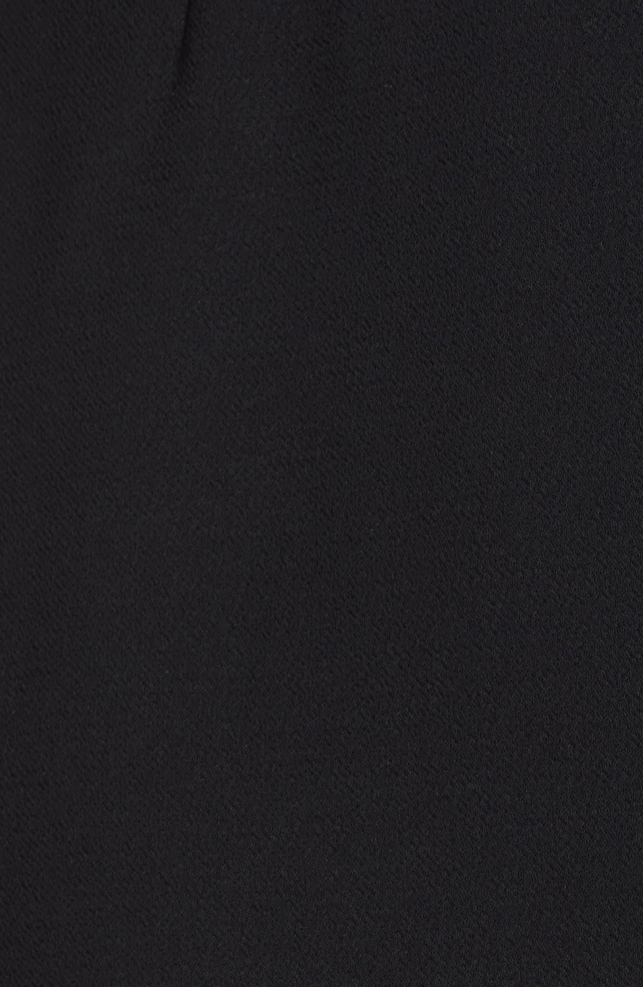 Tie Front Crepe Shift Dress,                             Alternate thumbnail 6, color,                             BLACK