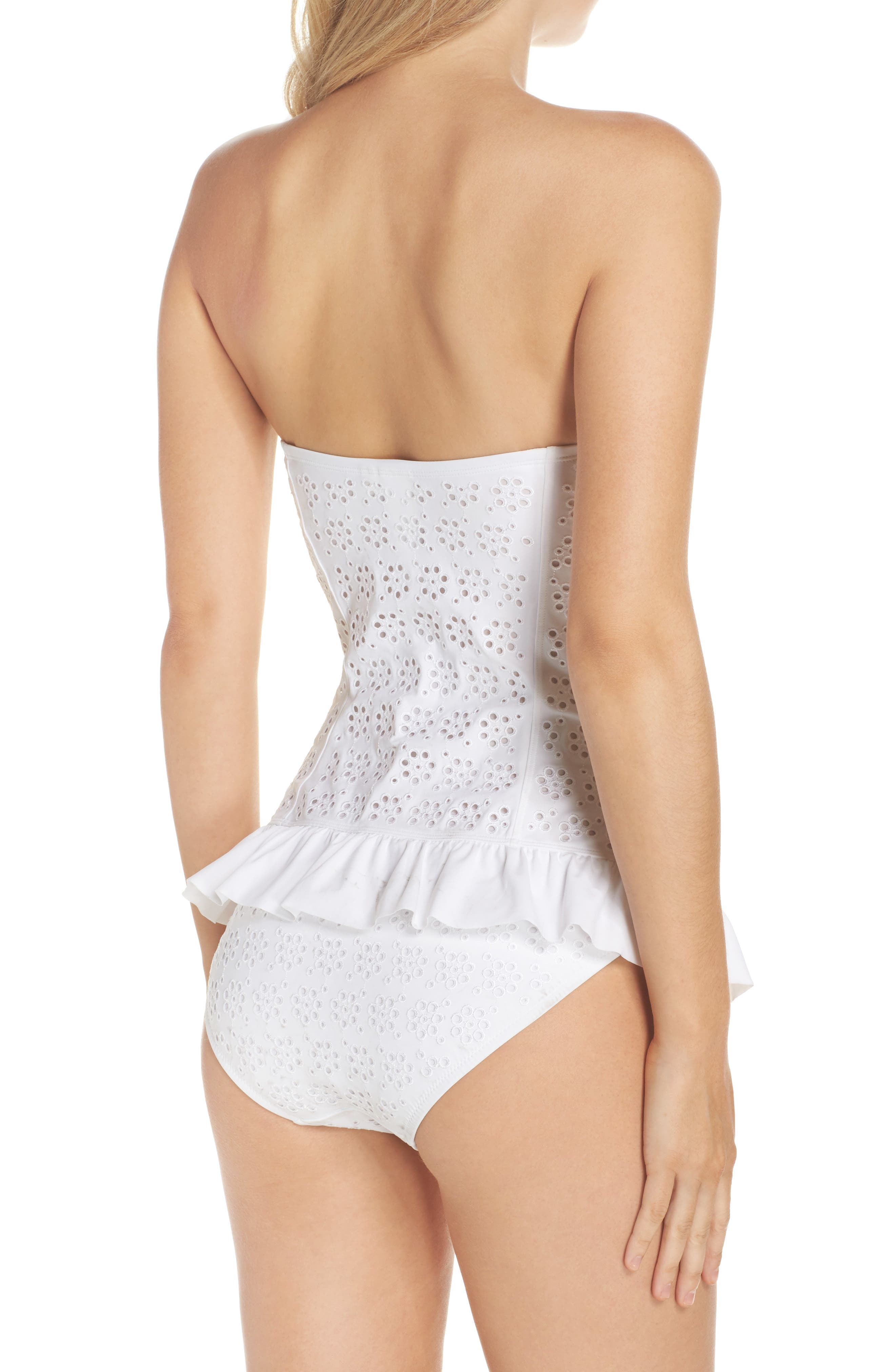 TORY BURCH,                             Broderie Anglais Flounce Convertible One-Piece Swimsuit,                             Alternate thumbnail 2, color,                             100