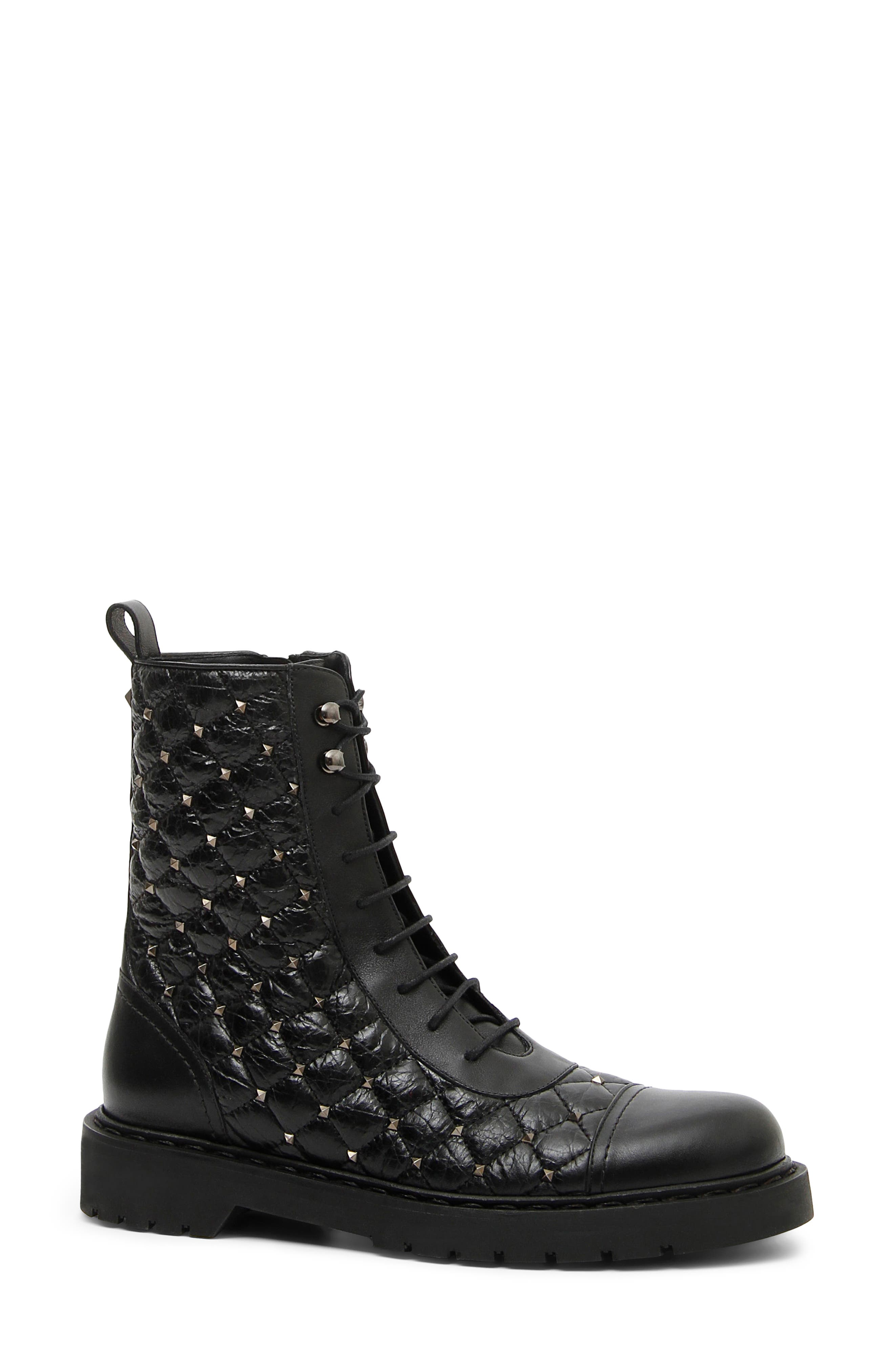 VALENTINO GARAVANI Rockstud Quilted Combat Boot, Main, color, BLACK