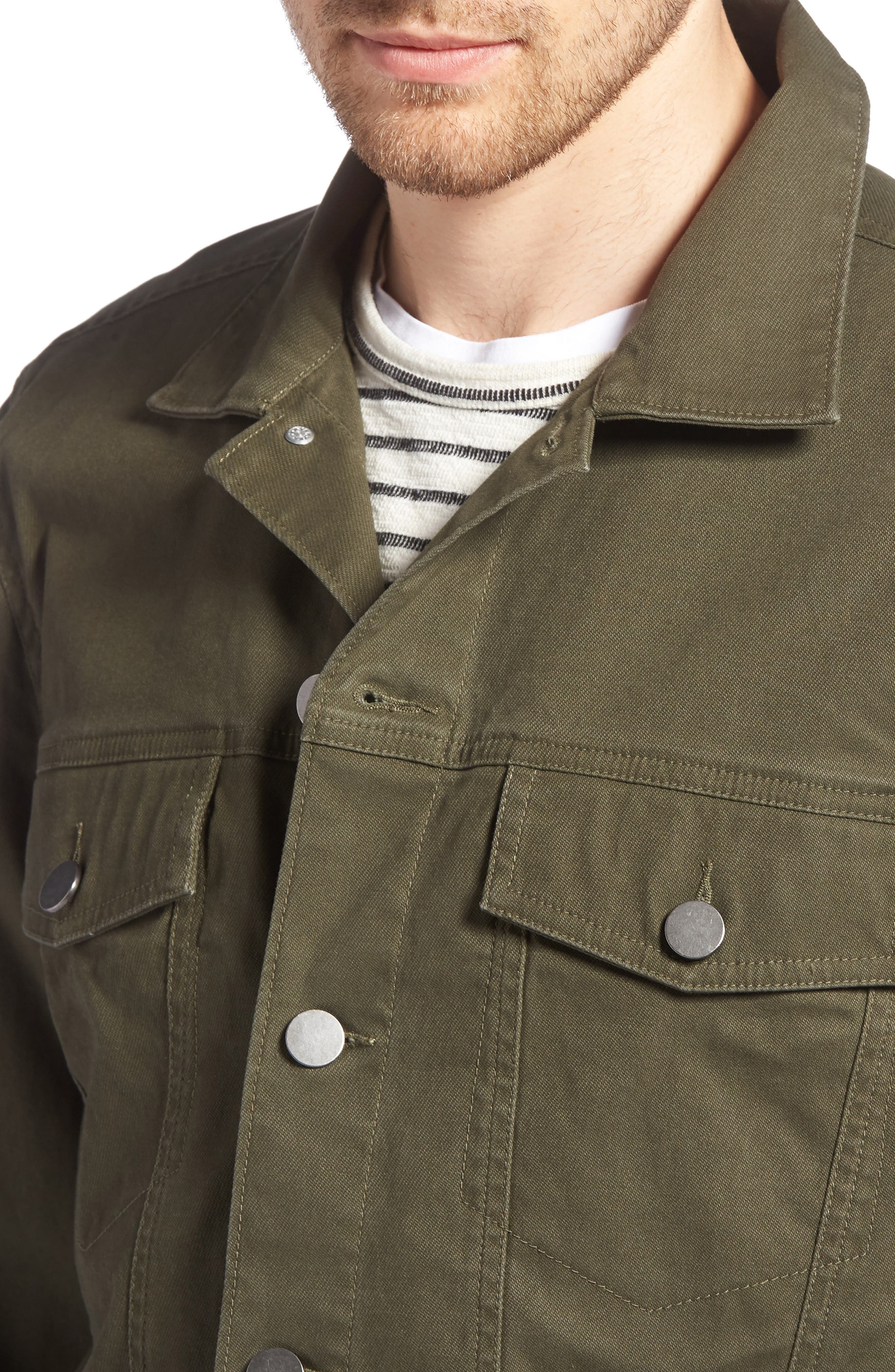 Stretch Cotton Trucker Jacket,                             Alternate thumbnail 4, color,                             GREEN FOREST