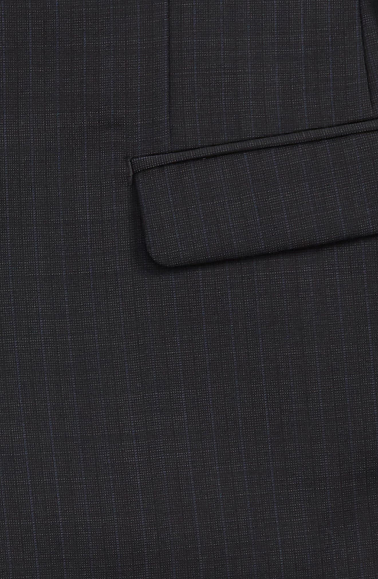 Check Wool Suit,                             Alternate thumbnail 2, color,                             BLACK / BLUE