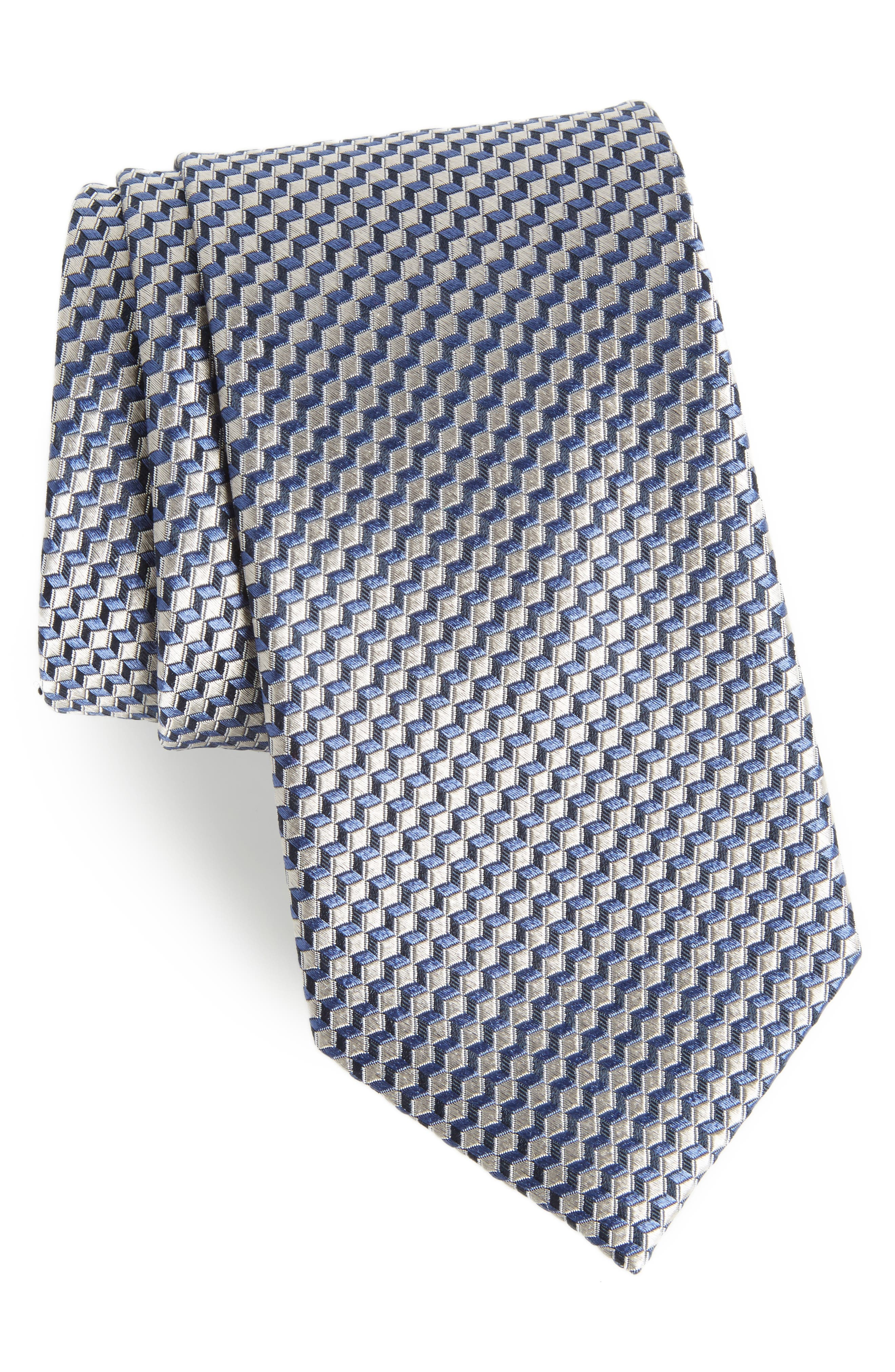 Doria Geometric Silk Tie,                         Main,                         color, 040