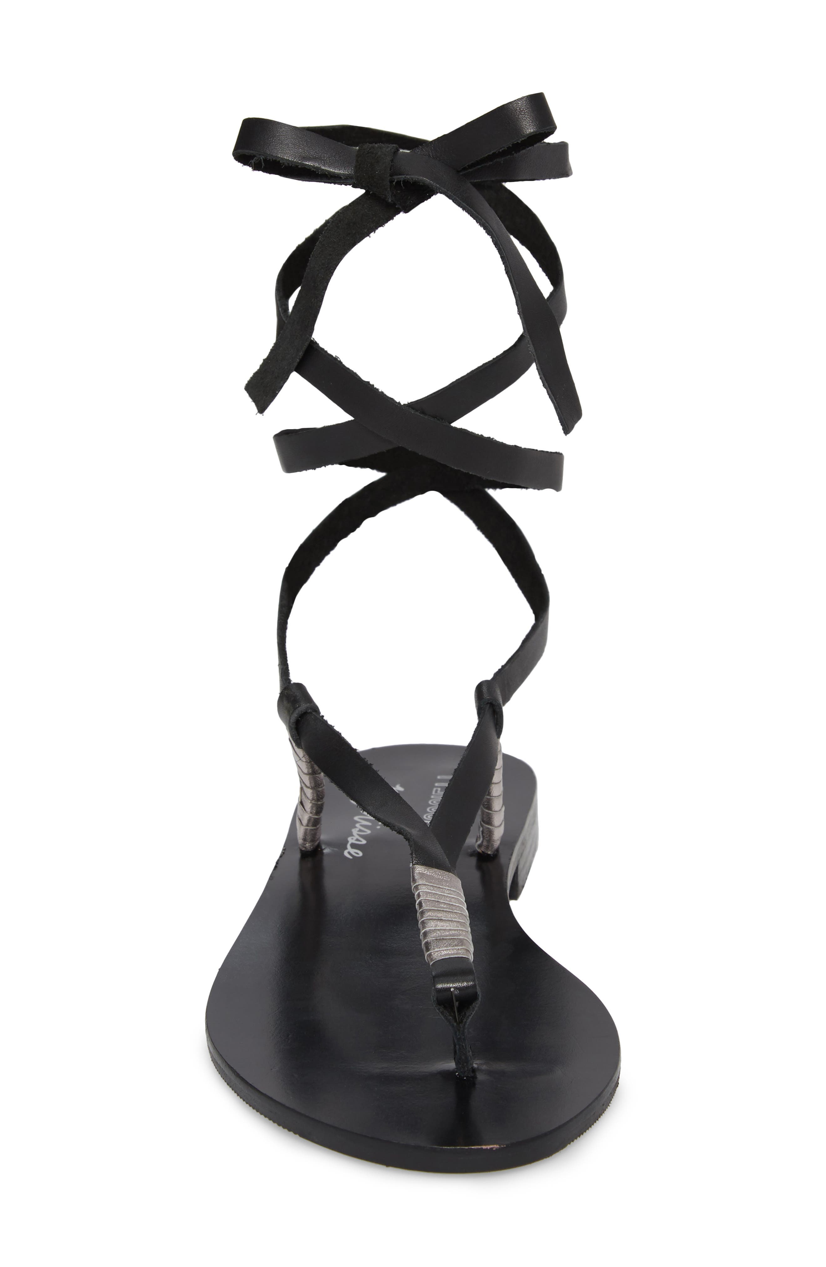 Amuse Society x Matisse Positano Sandal,                             Alternate thumbnail 4, color,                             BLACK LEATHER