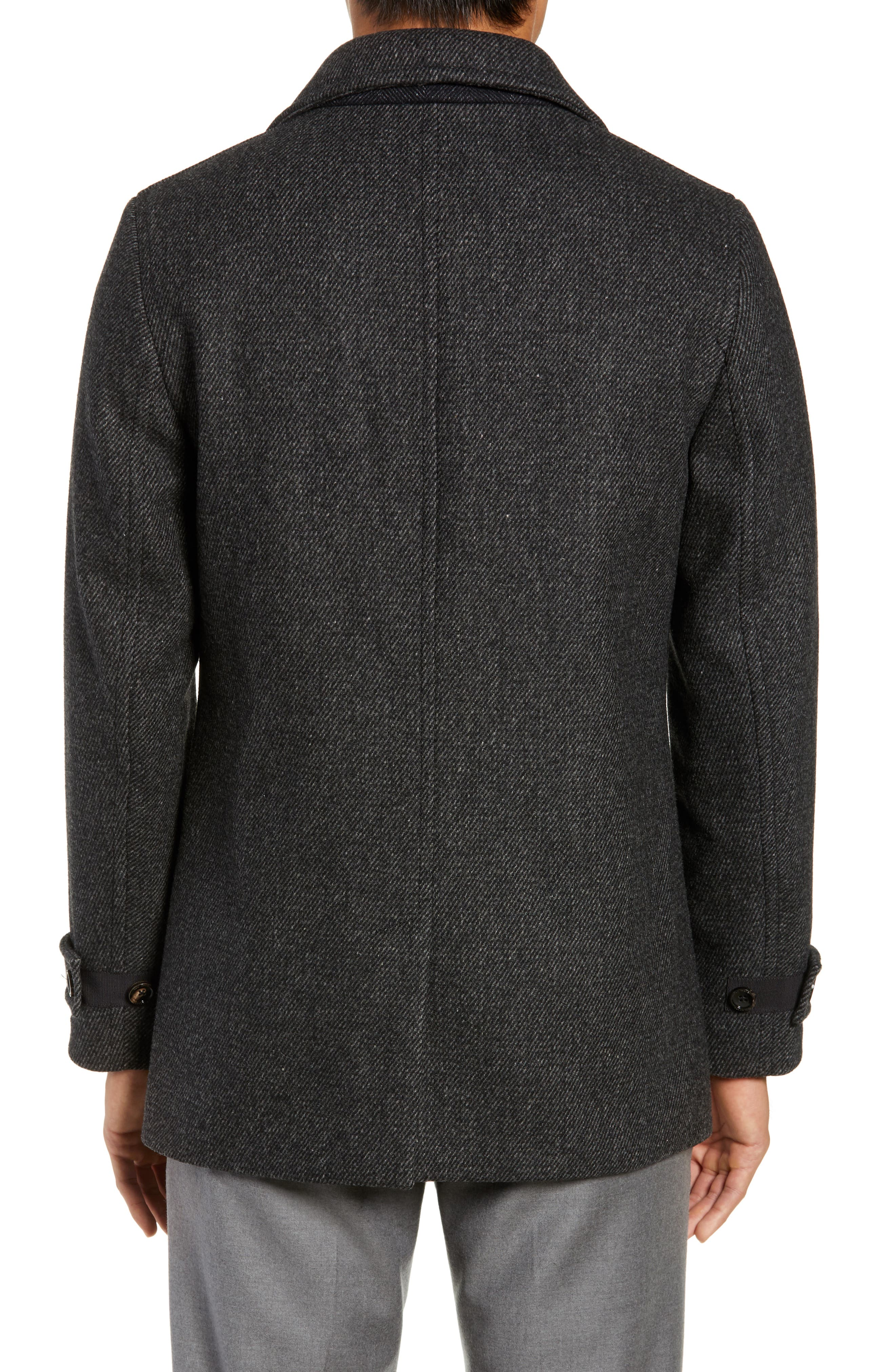 Grilled Wool Blend Peacoat,                             Alternate thumbnail 2, color,                             GREY