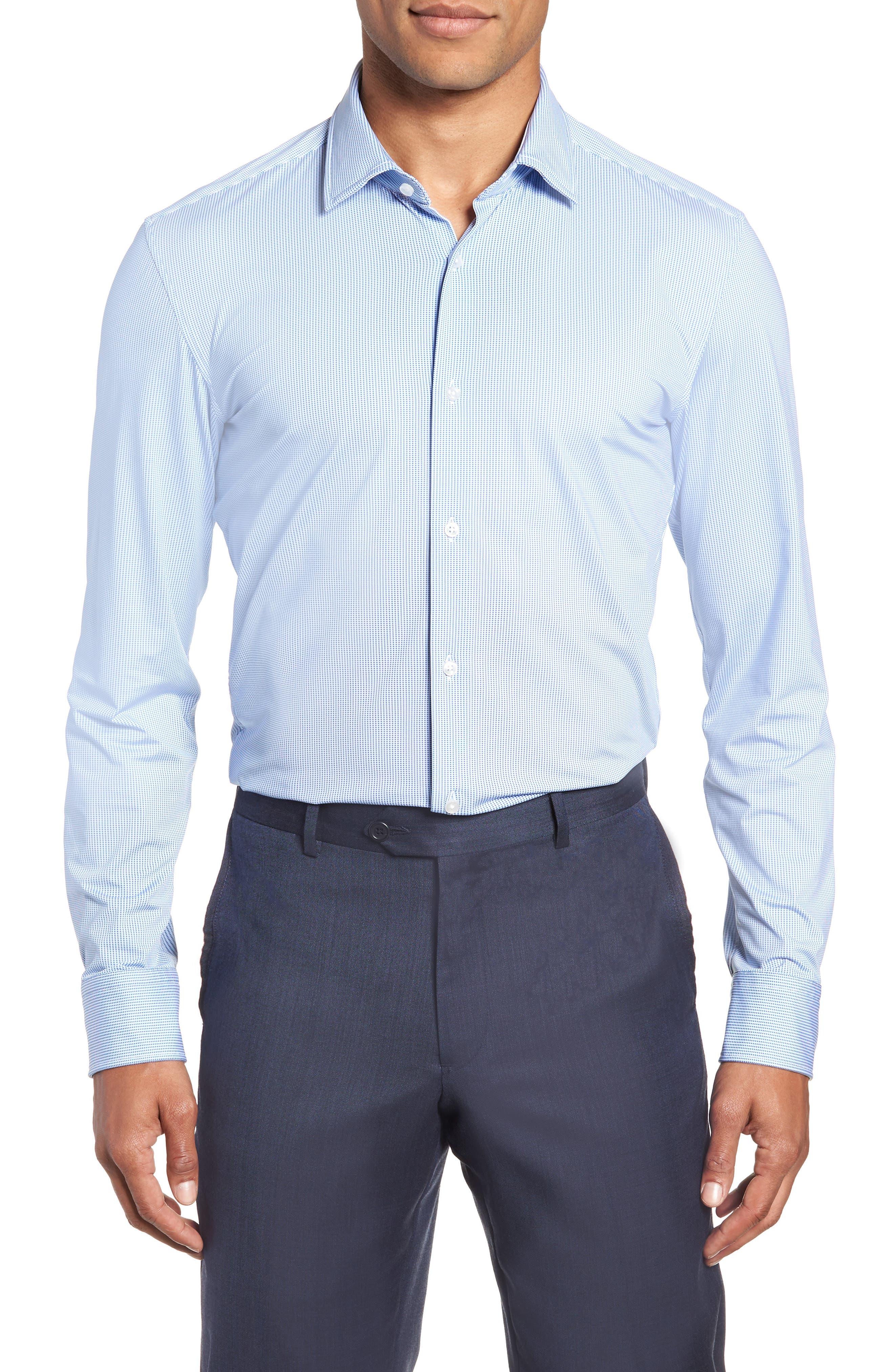 Jenno Slim Fit Stretch Check Dress Shirt,                         Main,                         color, BLUE
