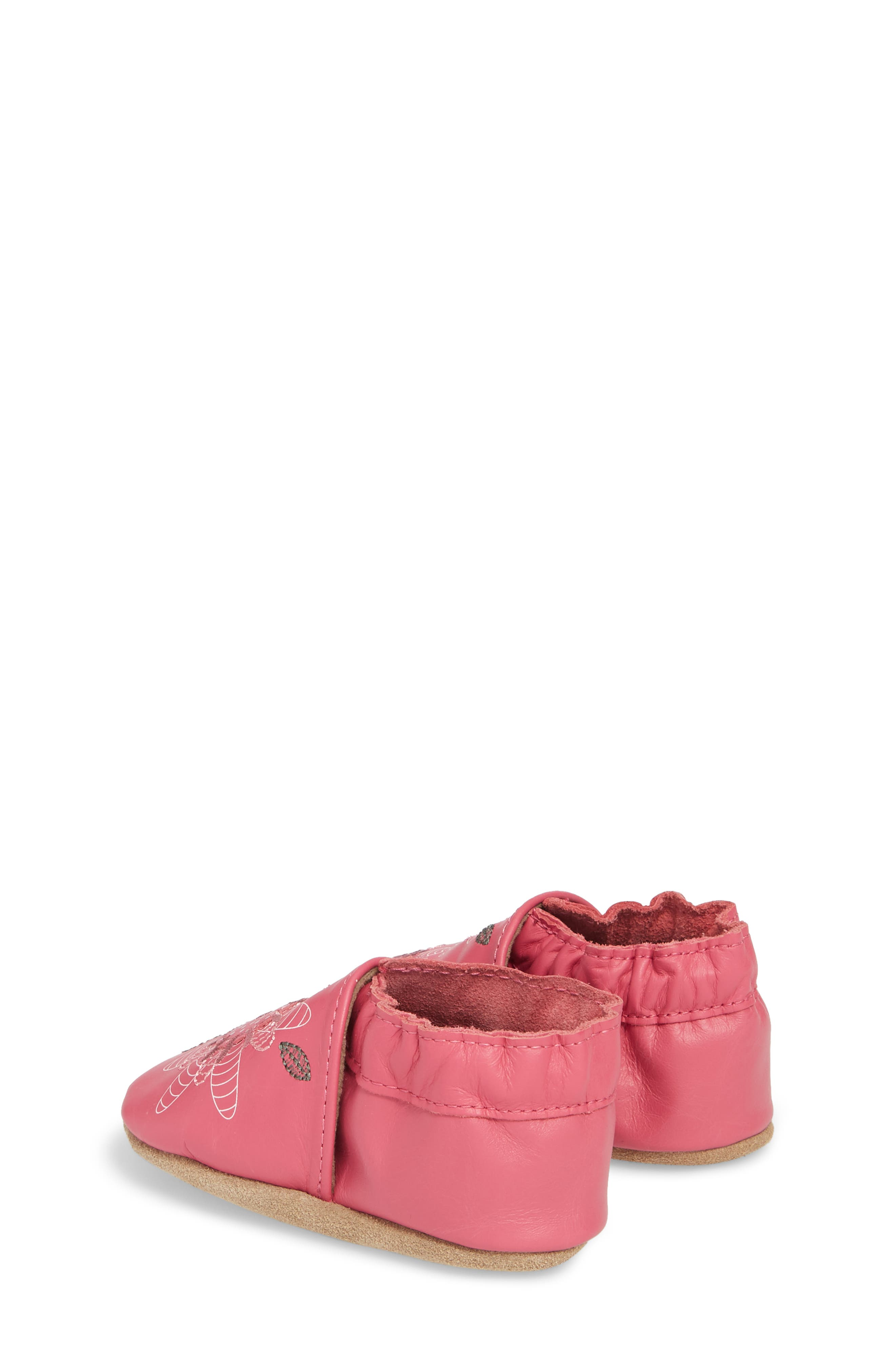Fiona Flower Moccasin Crib Shoe,                             Alternate thumbnail 2, color,                             HOT PINK