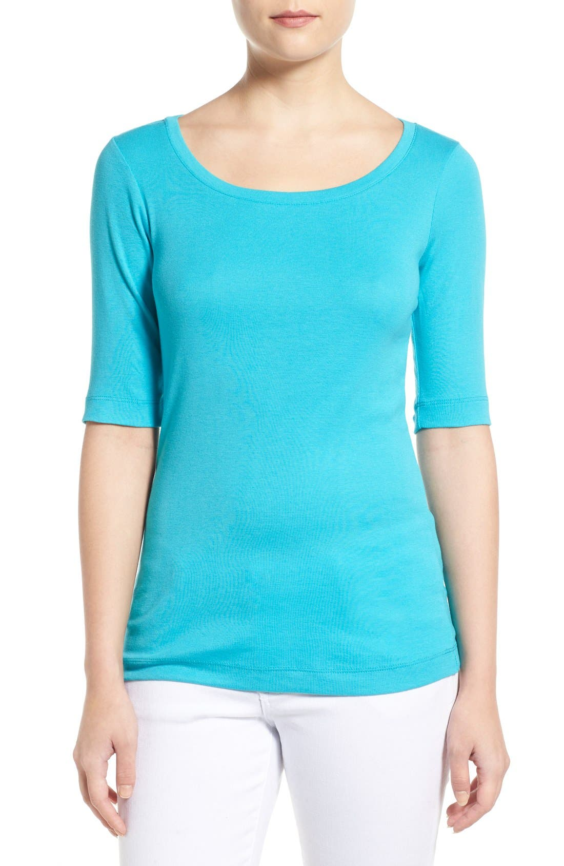 Ballet Neck Cotton & Modal Knit Elbow Sleeve Tee,                             Main thumbnail 26, color,