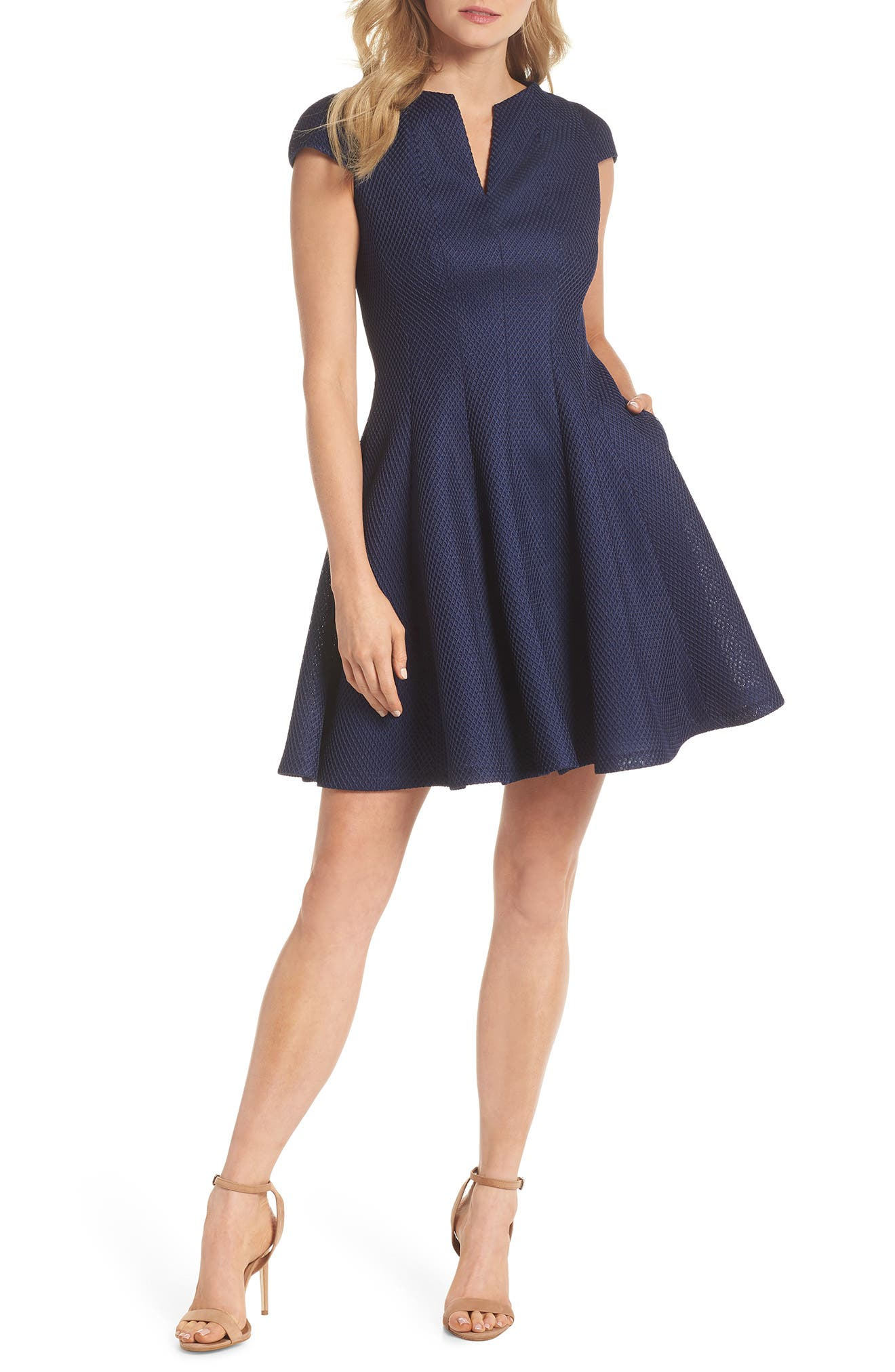 Julia Jordan Fit & Flare Dress, Blue