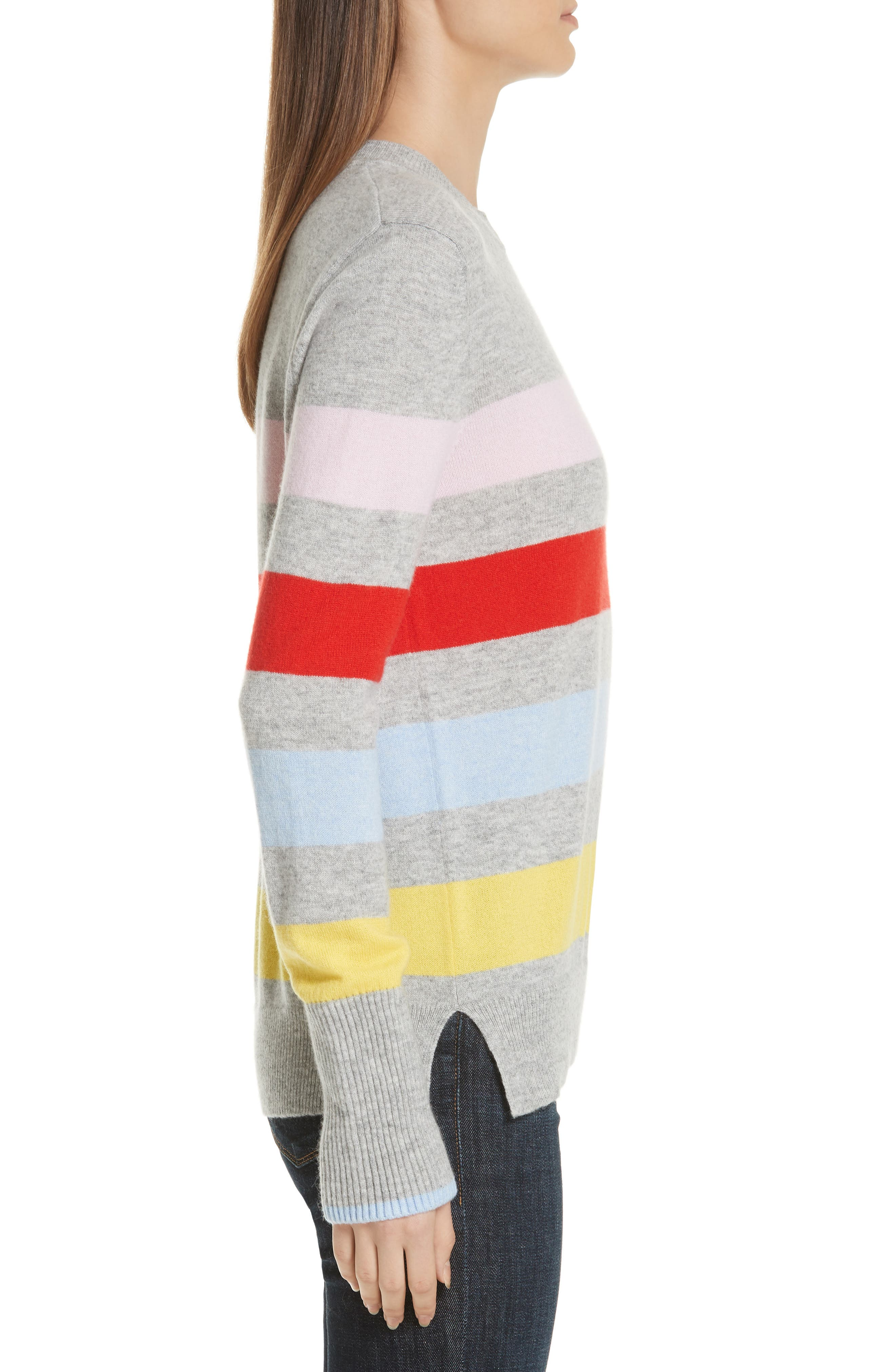 AAA Candy Stripe Cashmere Sweater,                             Alternate thumbnail 3, color,                             020