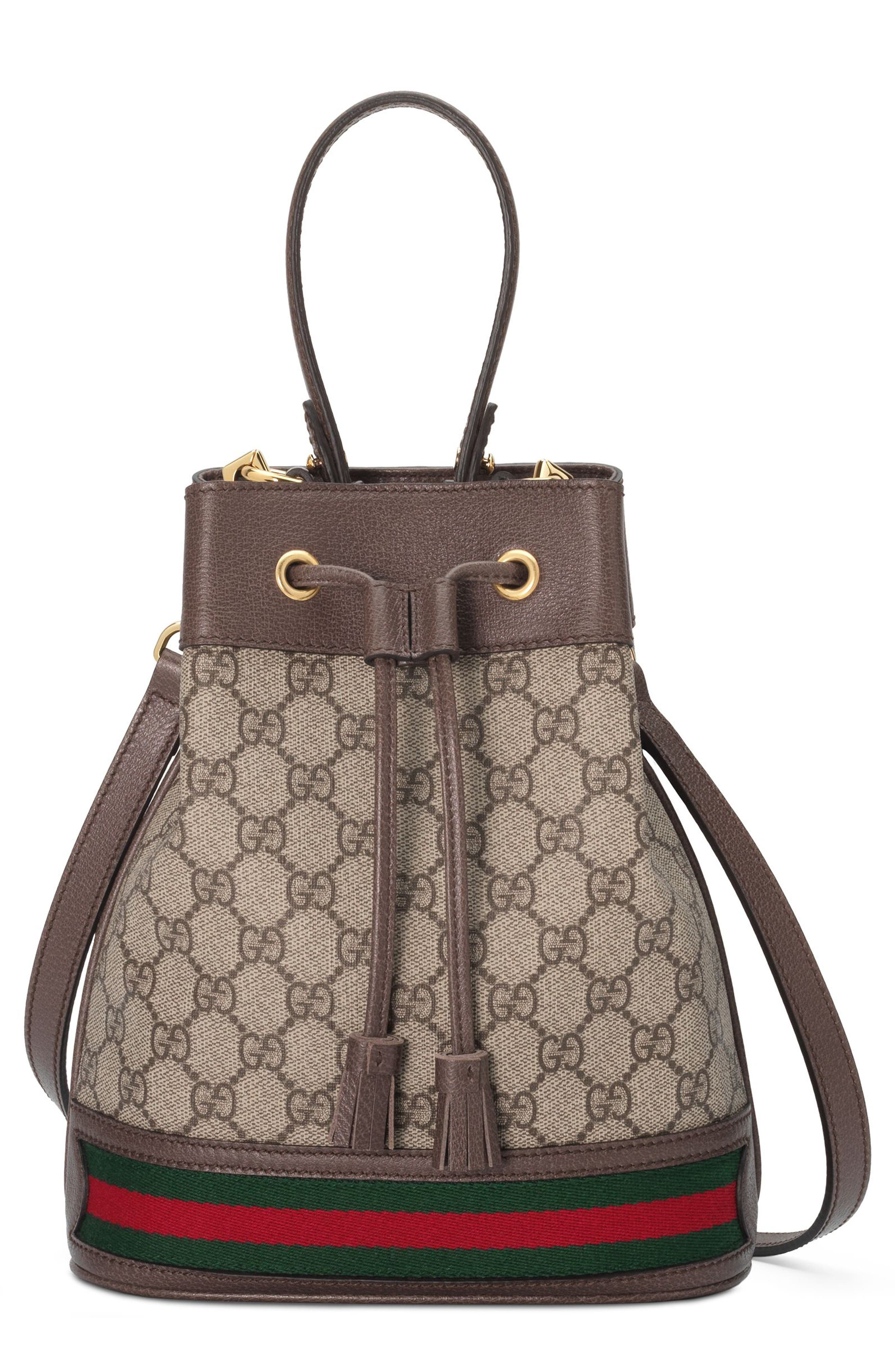 Small Ophidia GG Supreme Canvas Bucket Bag,                         Main,                         color, BEIGE EBONY/ NEW ACERO