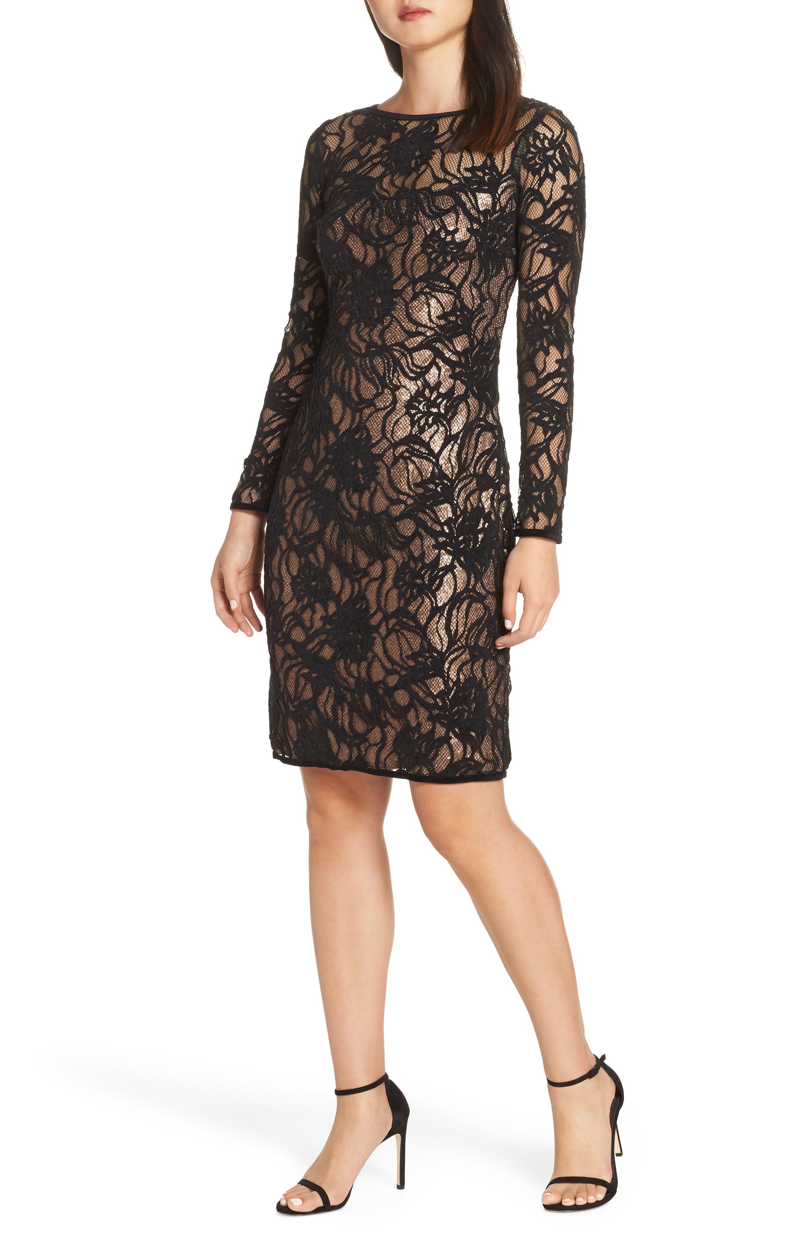 Vita Sequin Lace Sheath Dress,                         Main,                         color, BLACK/ COPPER