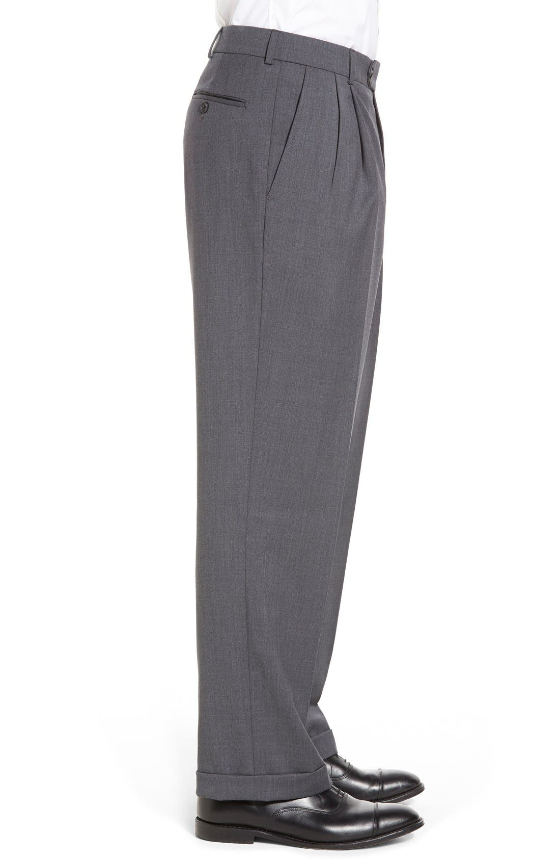 Pleated Solid Wool Trousers,                             Alternate thumbnail 32, color,