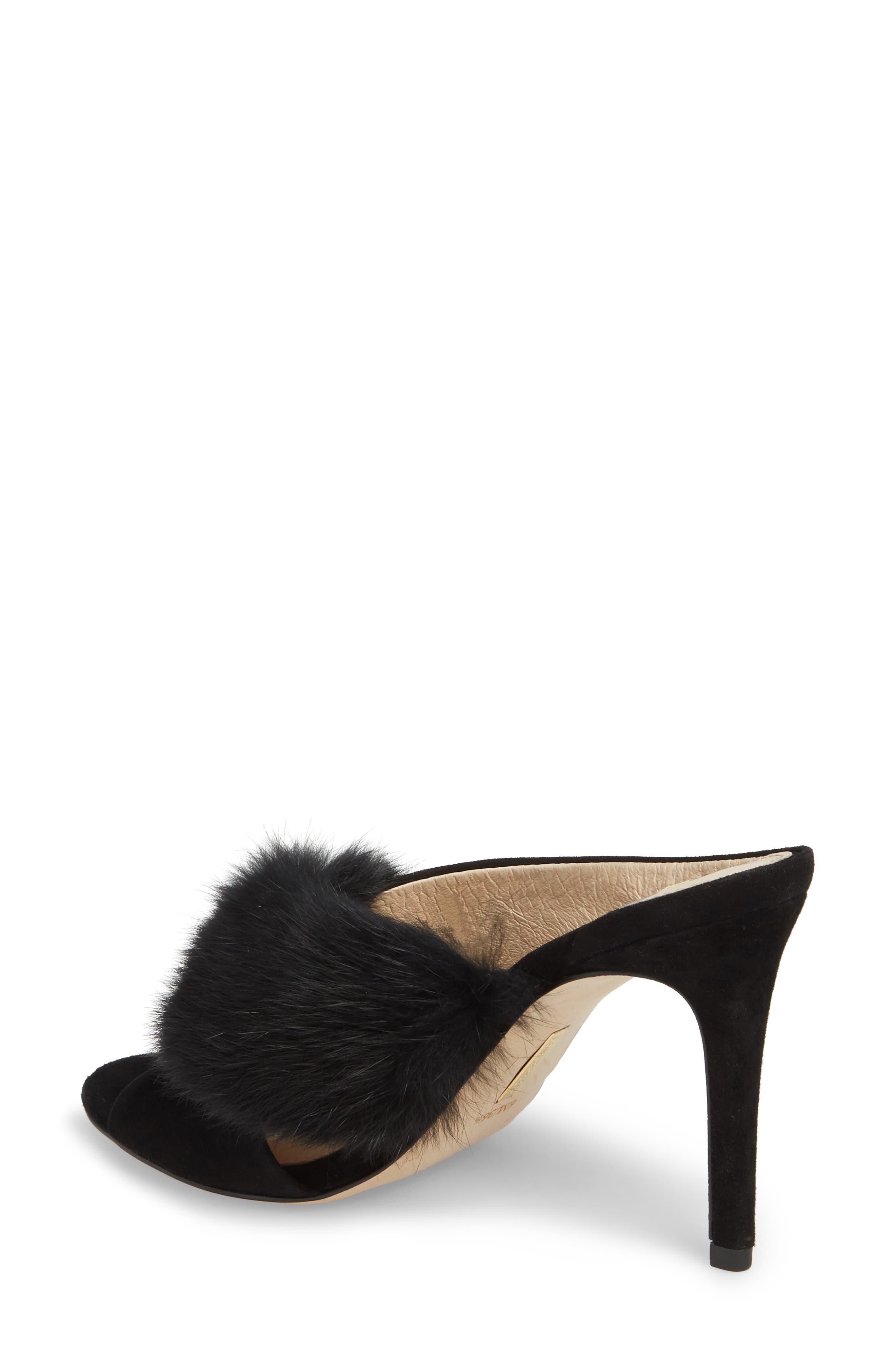 Halloway Genuine Rabbit Fur Sandal,                             Alternate thumbnail 2, color,                             BLACK RABBIT FUR