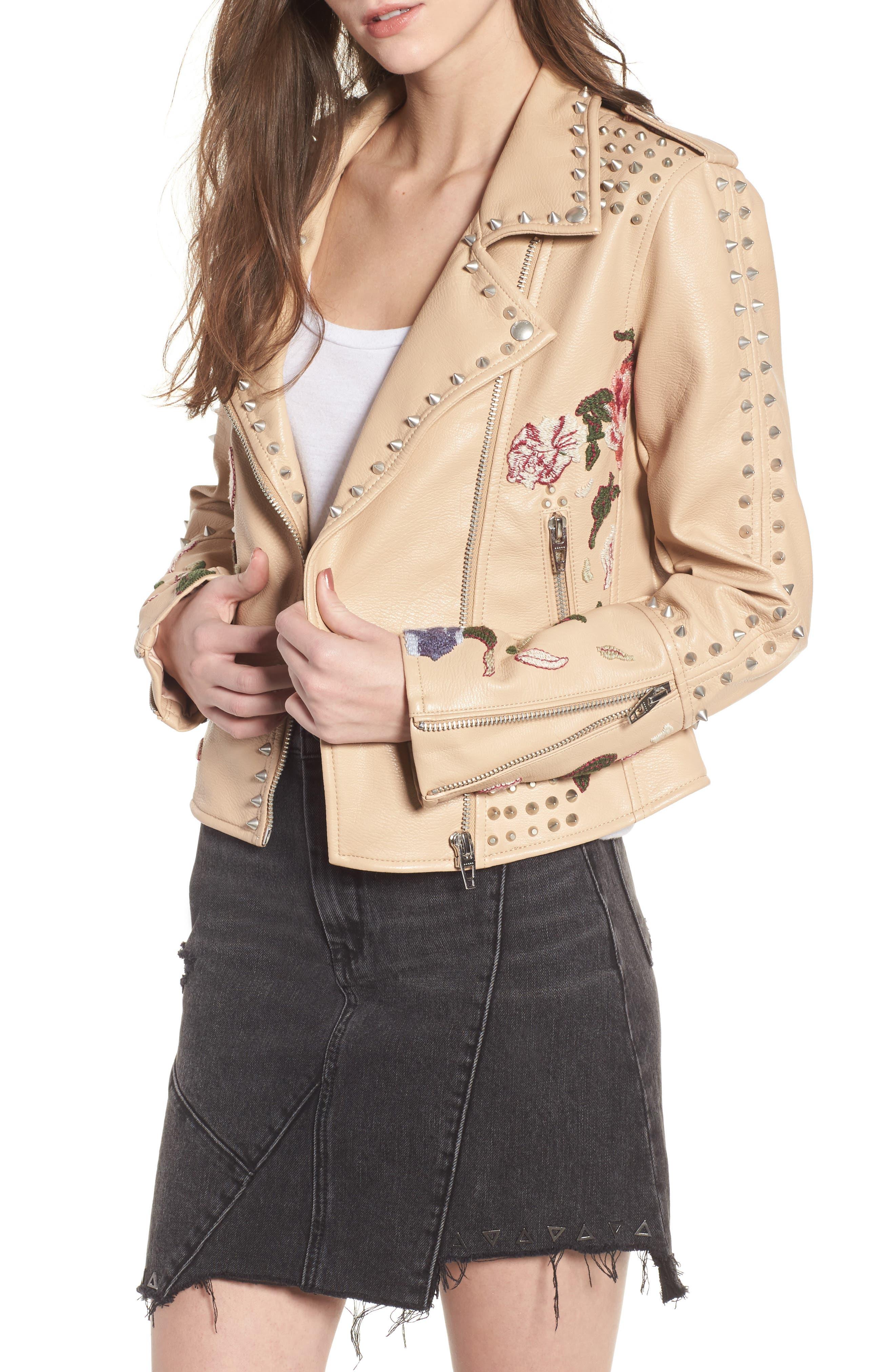 Embellished Faux Leather Moto Jacket,                             Main thumbnail 1, color,                             250