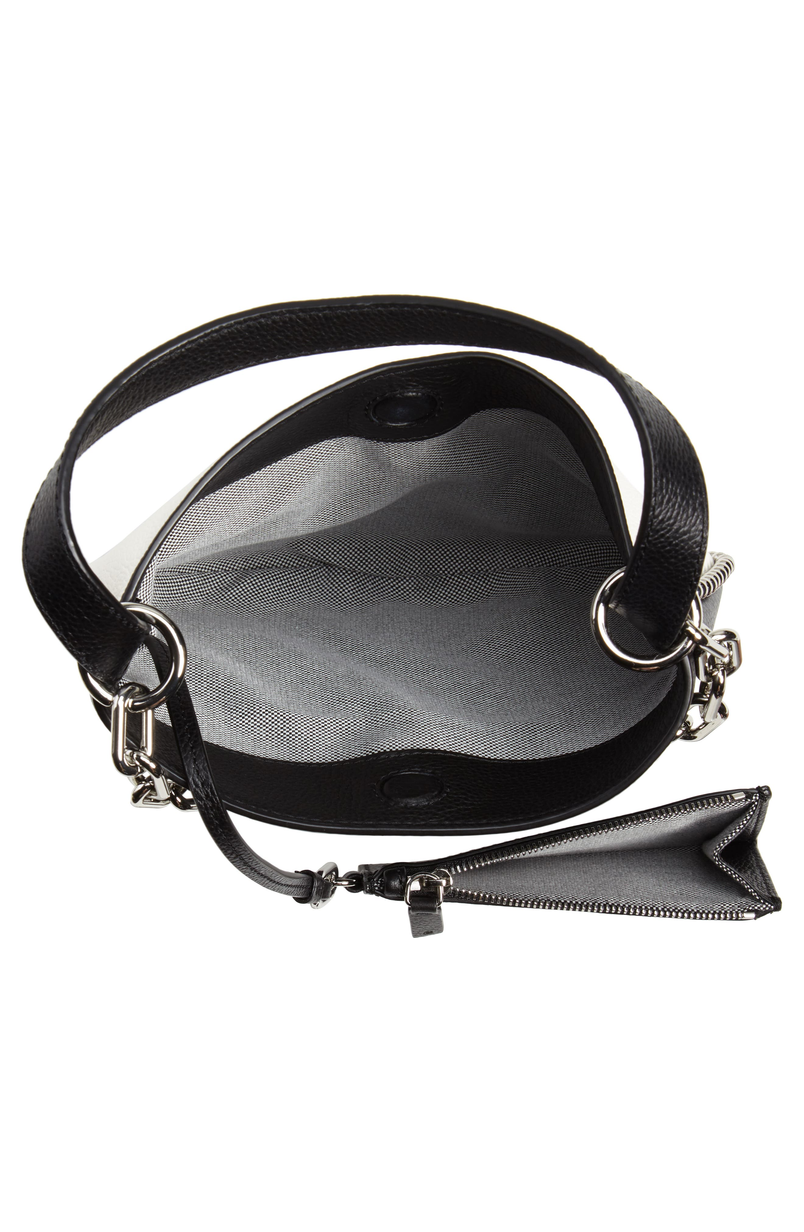 ALEXANDER WANG,                             Mini Roxy Leather Hobo Bag,                             Alternate thumbnail 5, color,                             BLACK/ WHITE