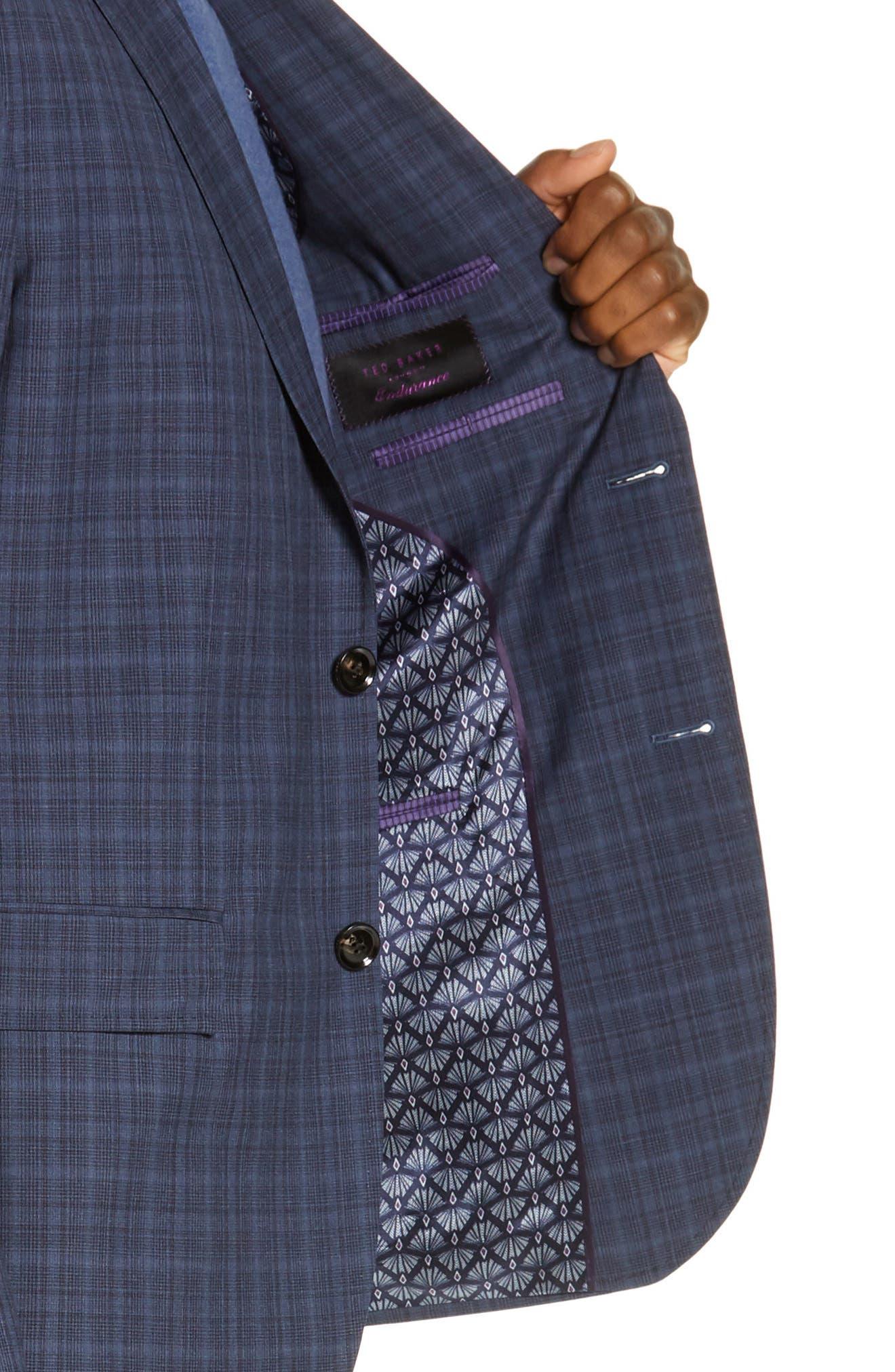 TED BAKER LONDON,                             Roger Slim Fit Plaid Wool Suit,                             Alternate thumbnail 4, color,                             GREY