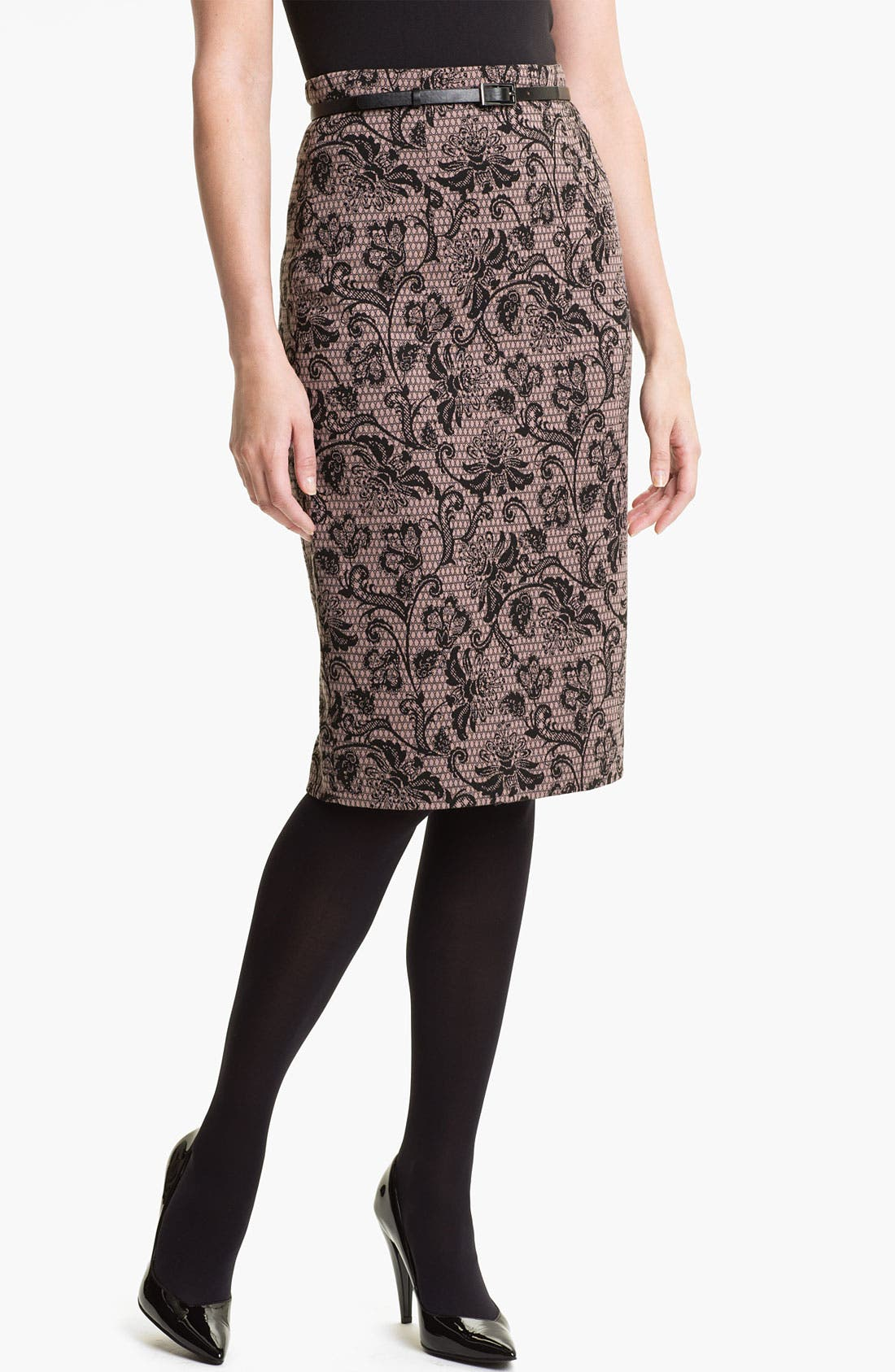 Belted Ponte Skirt,                             Main thumbnail 6, color,