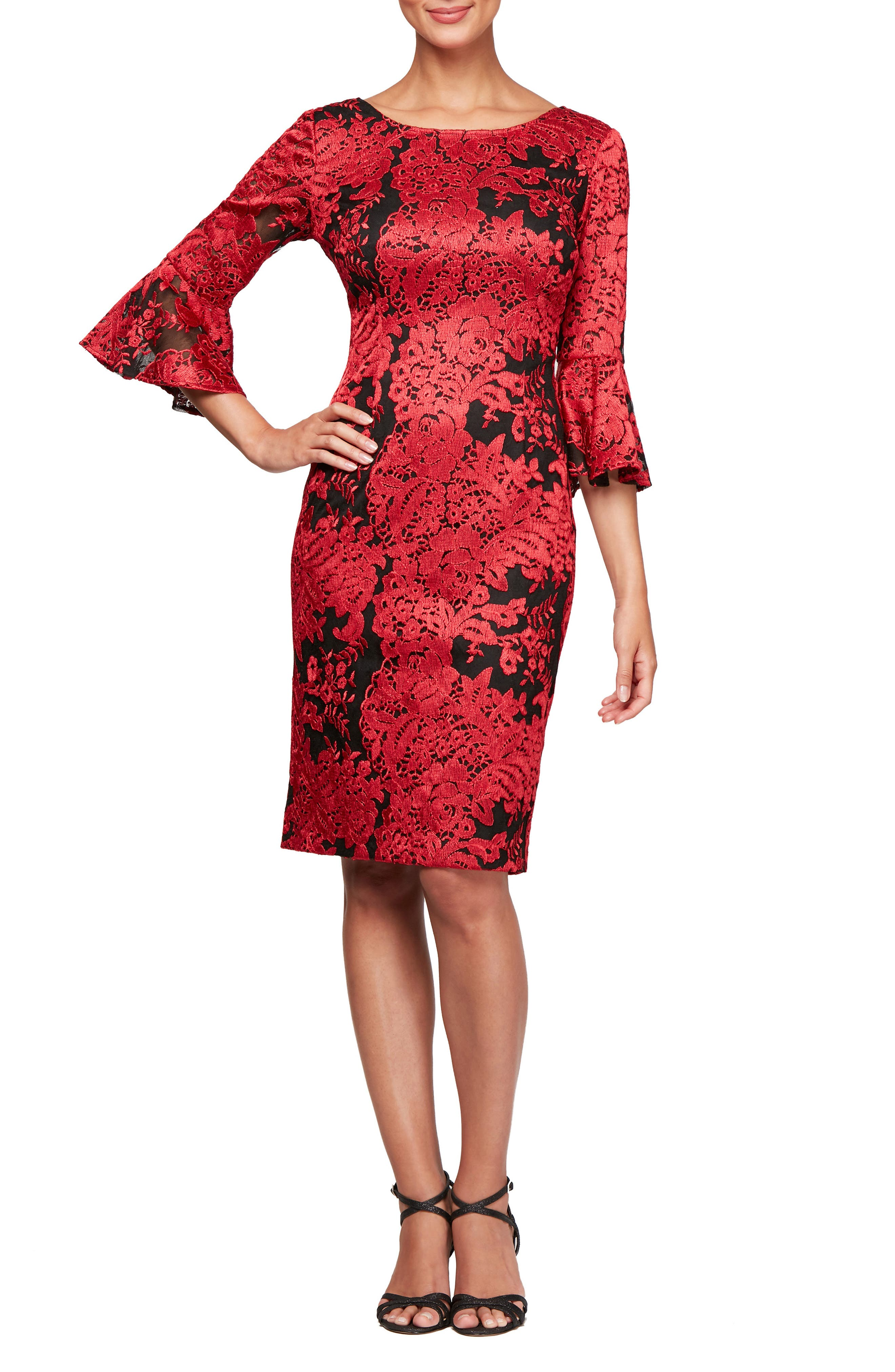 Alex Evenings Embroidered Lace Shift Dress, Red