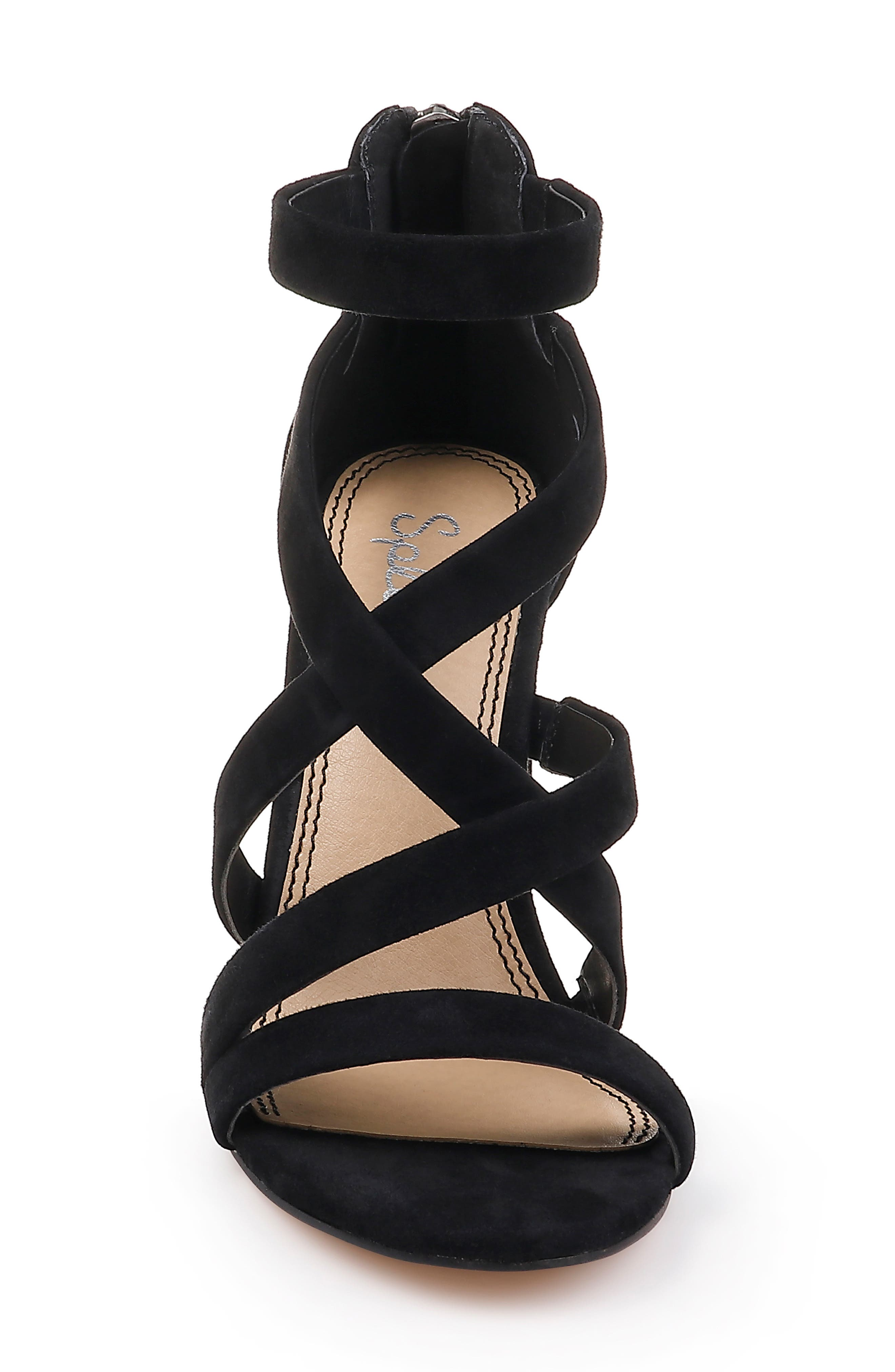 Stuart Block Heel Sandal,                             Alternate thumbnail 4, color,                             BLACK SUEDE