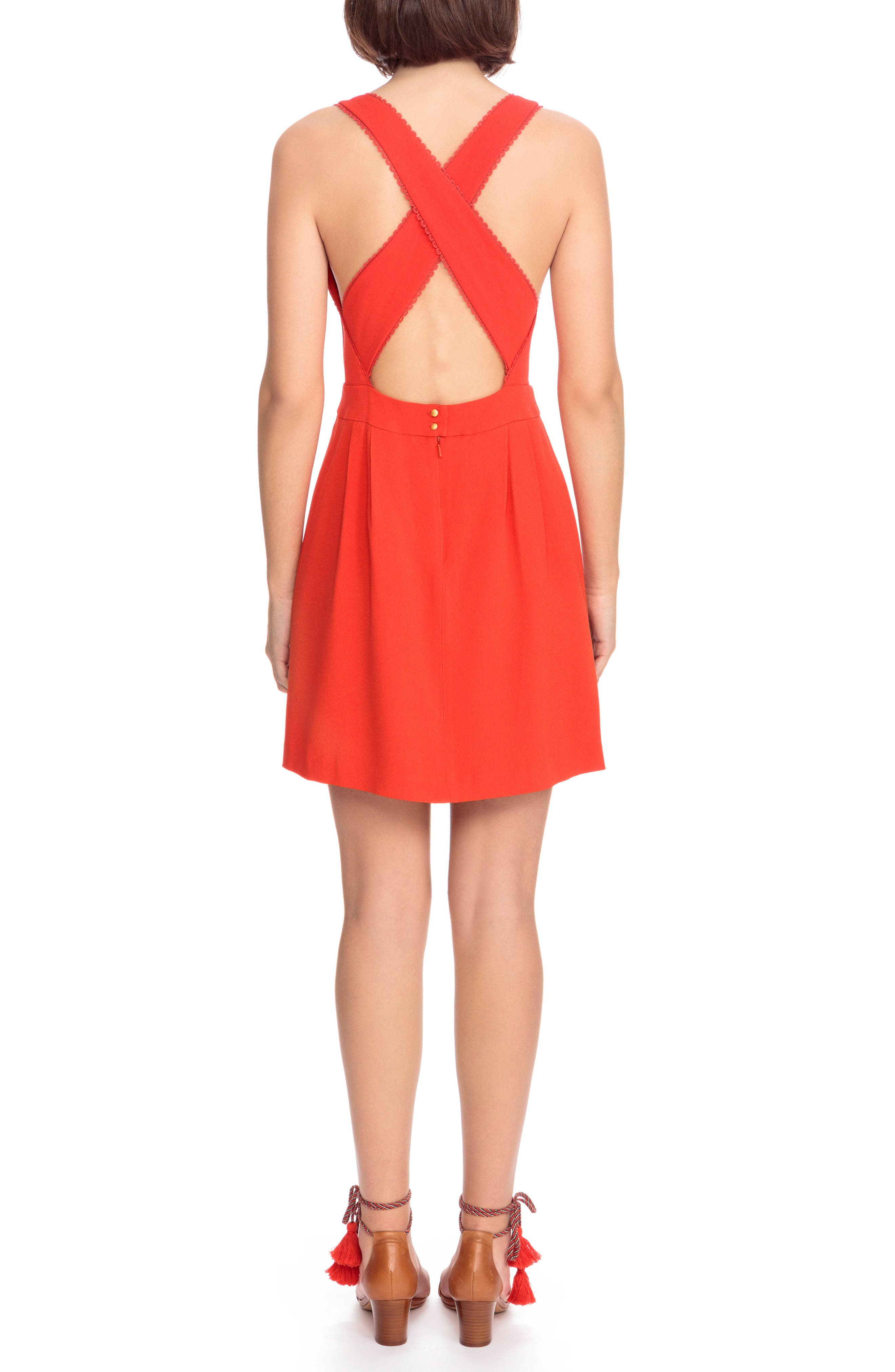 Alya Crisscross A-Line Dress,                             Alternate thumbnail 3, color,