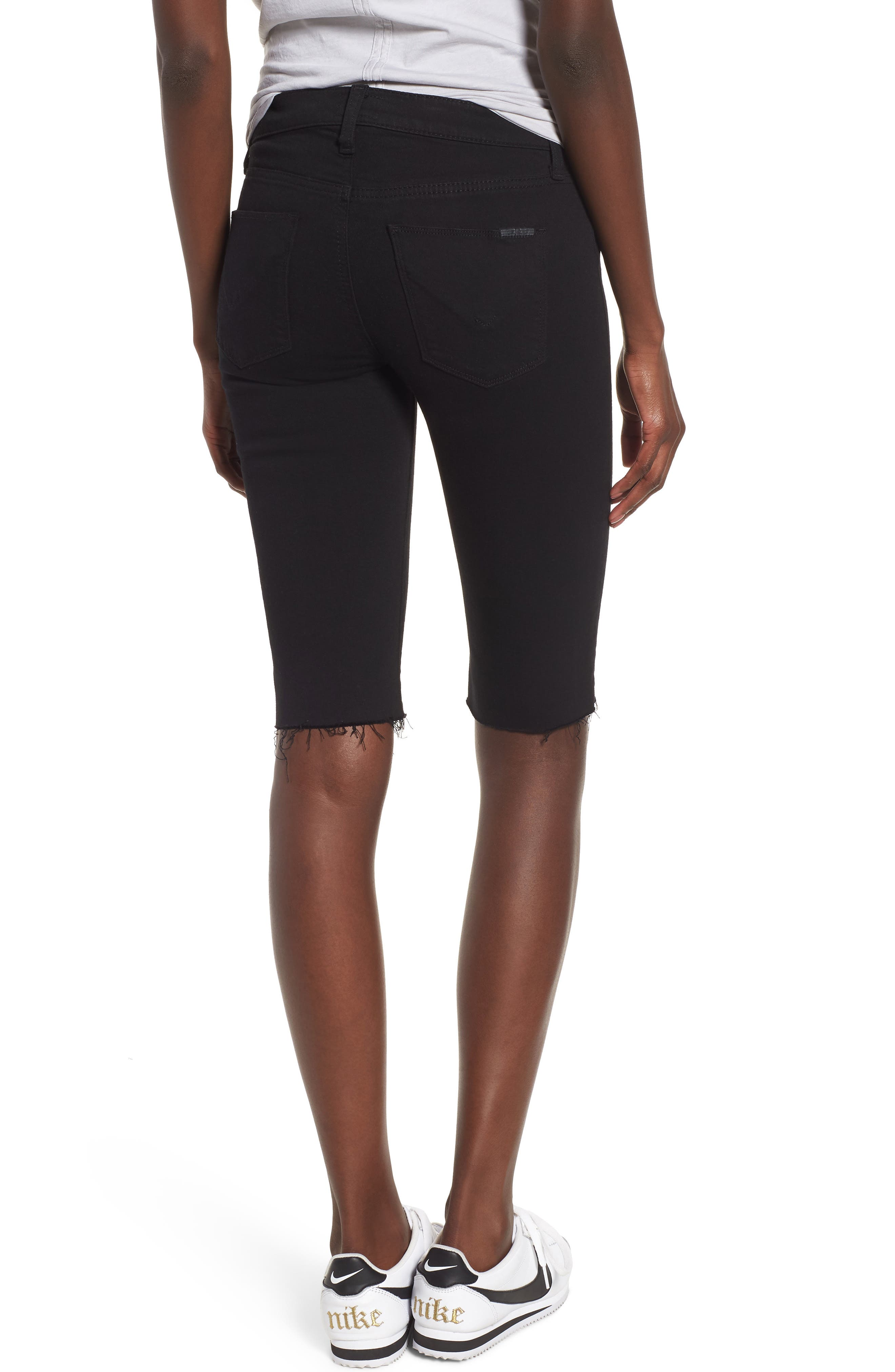 Amelia Cutoff Knee Shorts,                             Alternate thumbnail 2, color,                             BLACK