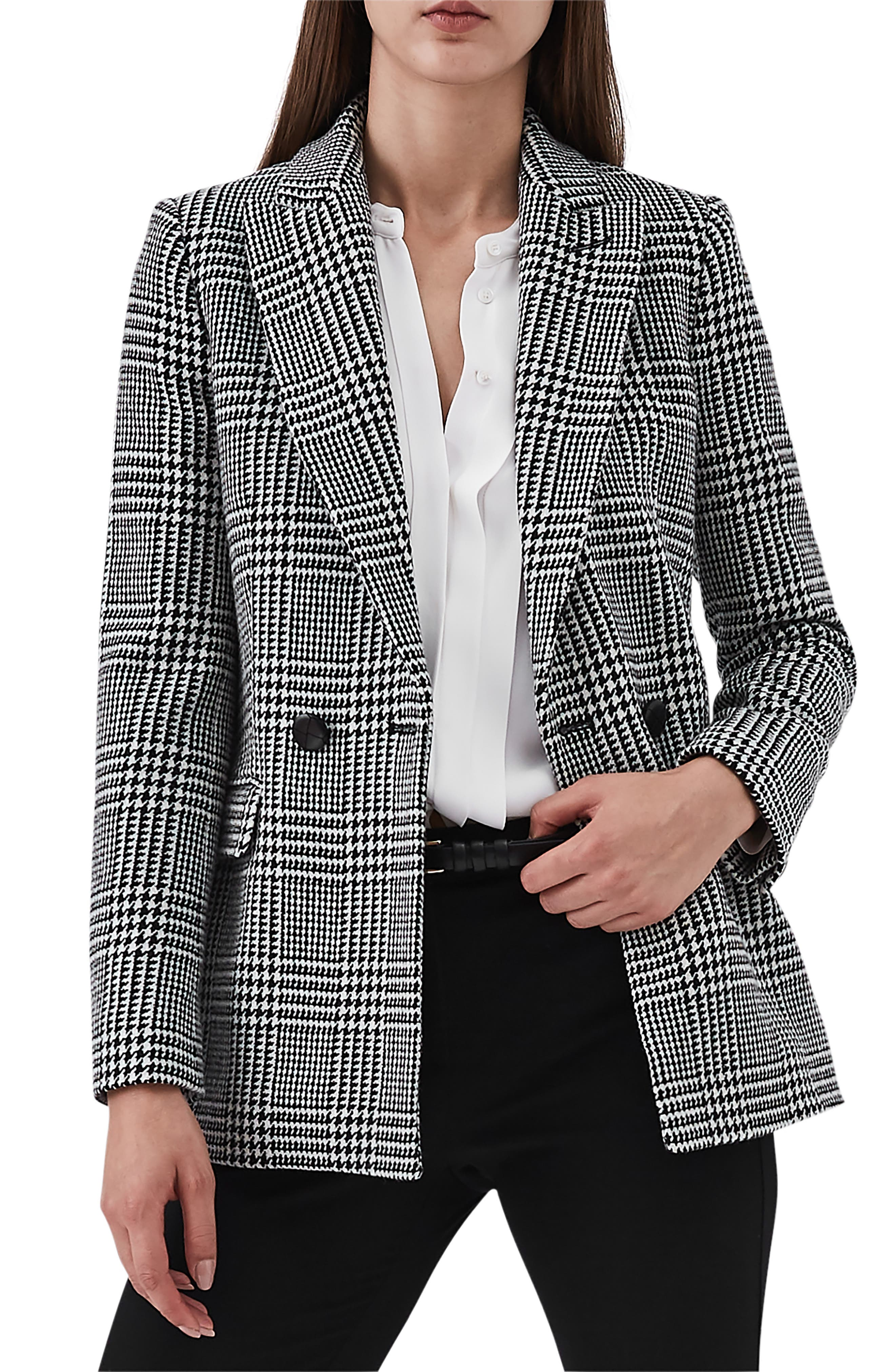REISS Langley Houndstooth Wool Blend Jacket in Black/ White