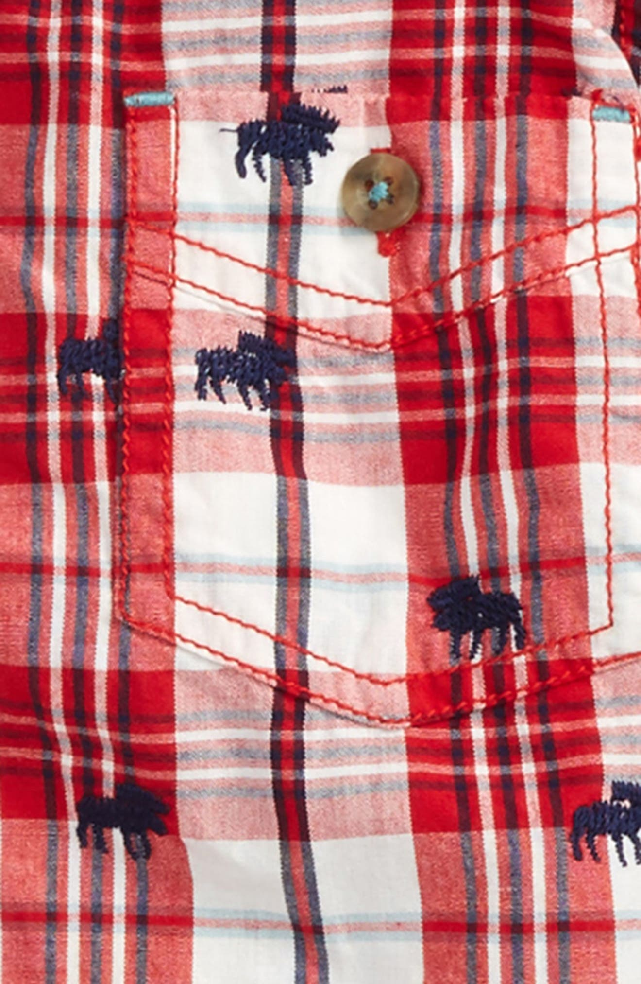 Embroidered Plaid Shirt,                             Alternate thumbnail 2, color,                             100