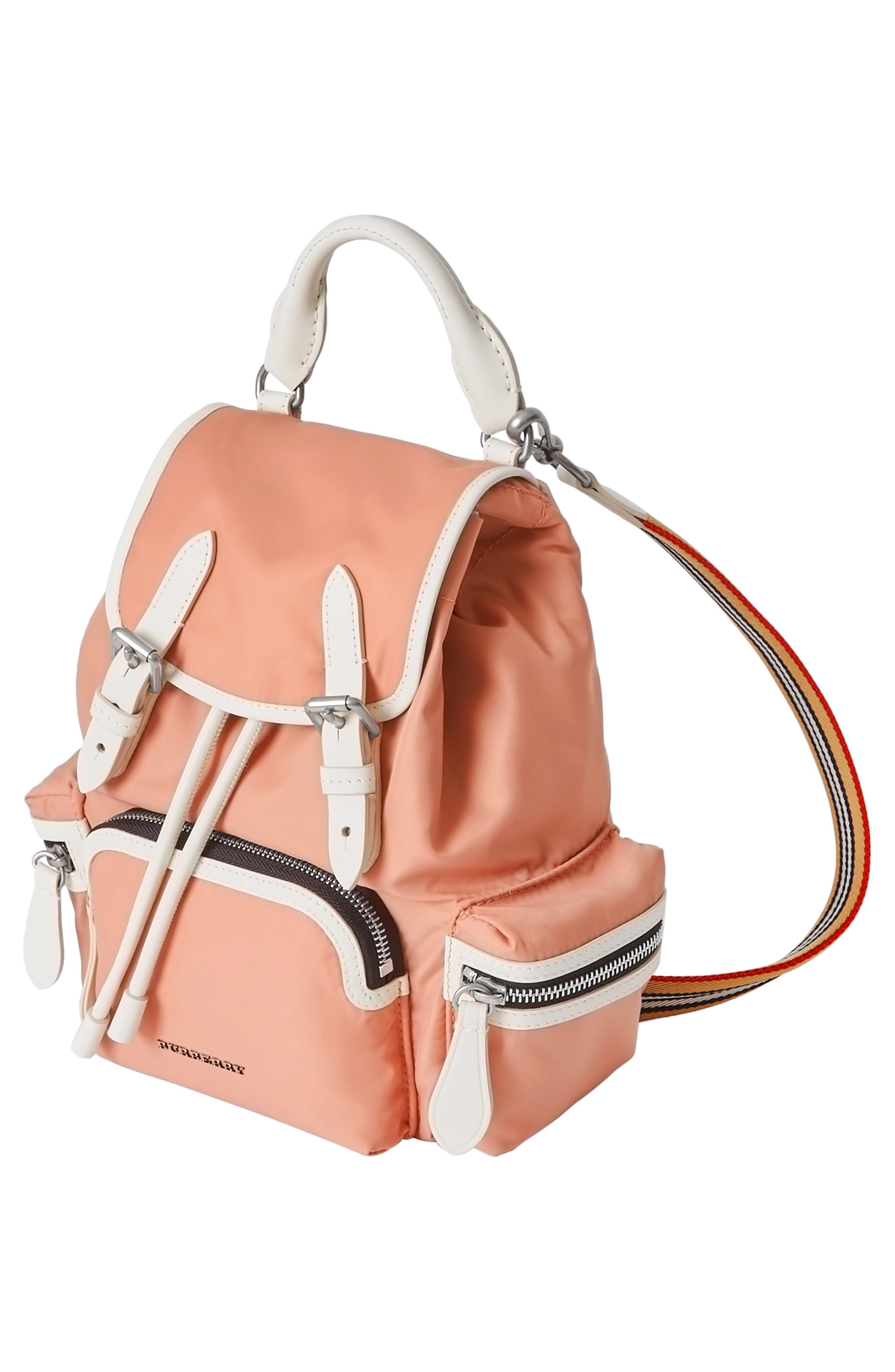 Small Rucksack Nylon Backpack,                             Alternate thumbnail 5, color,                             POWDER PINK